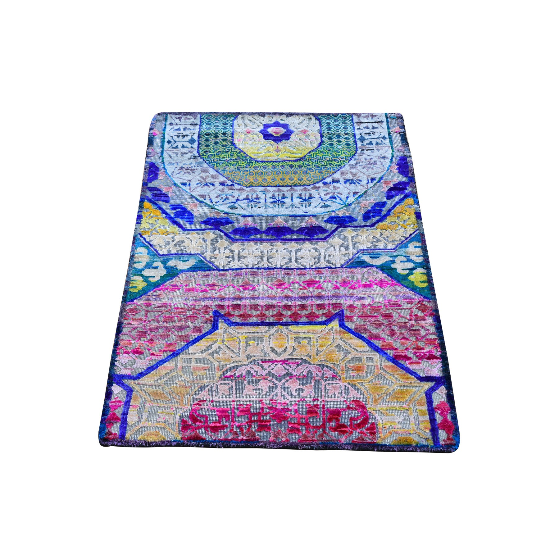 2'x3' Colorful Sari Silk with Textured Wool Hand Knotted Mamluk Design Oriental Rug