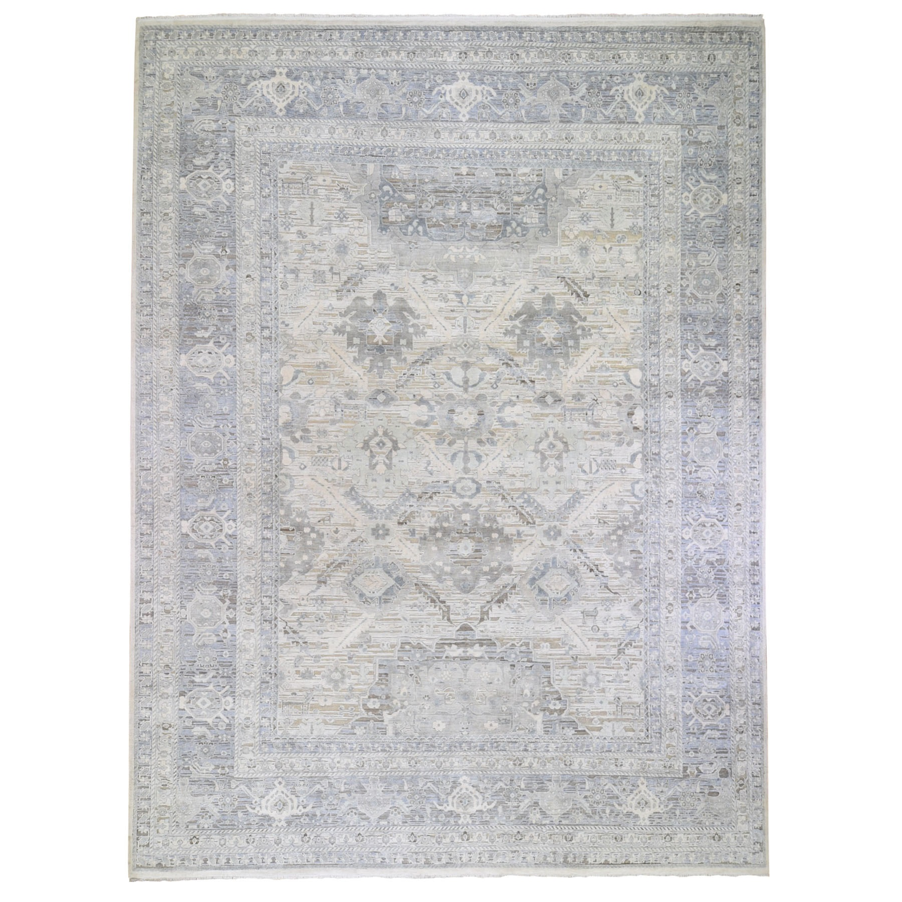 """11'10""""x15' Oversized Ivory Pure Silk and Textured Wool Oushak with Geometric Motif Hand Knotted Oriental Rug"""