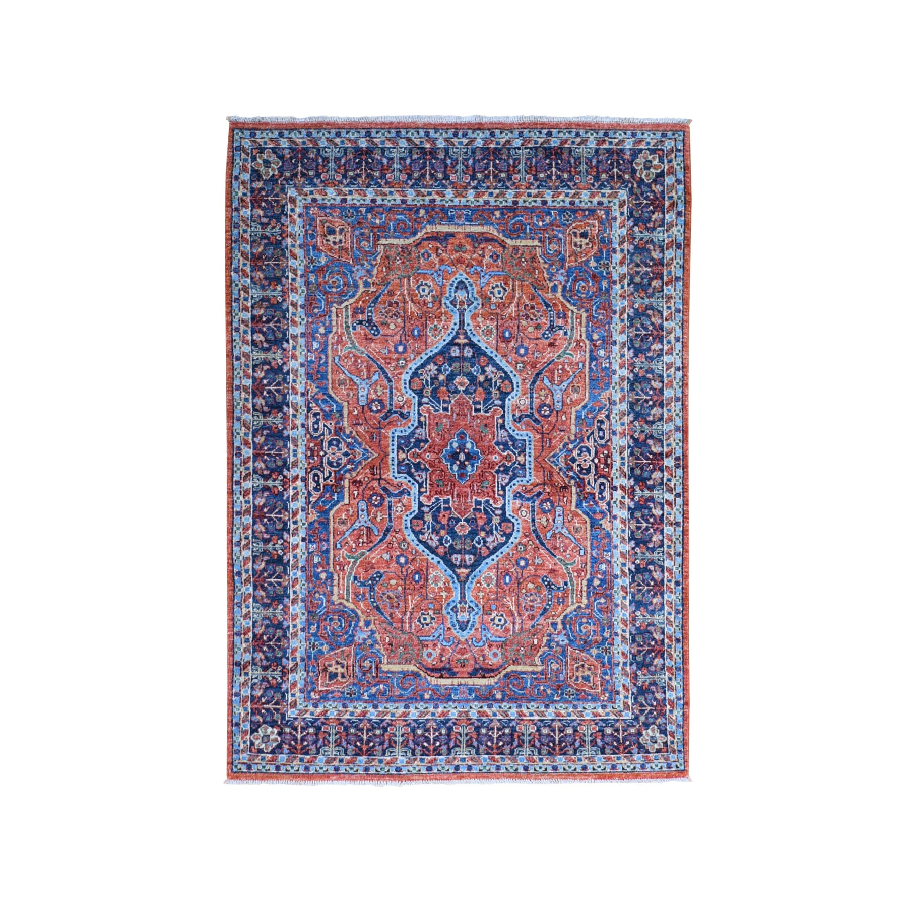 """4'x5'10"""" Clay Red Peshawar with Sarouk Fereghan Design Pure Wool Hand Knotted Oriental Rug"""