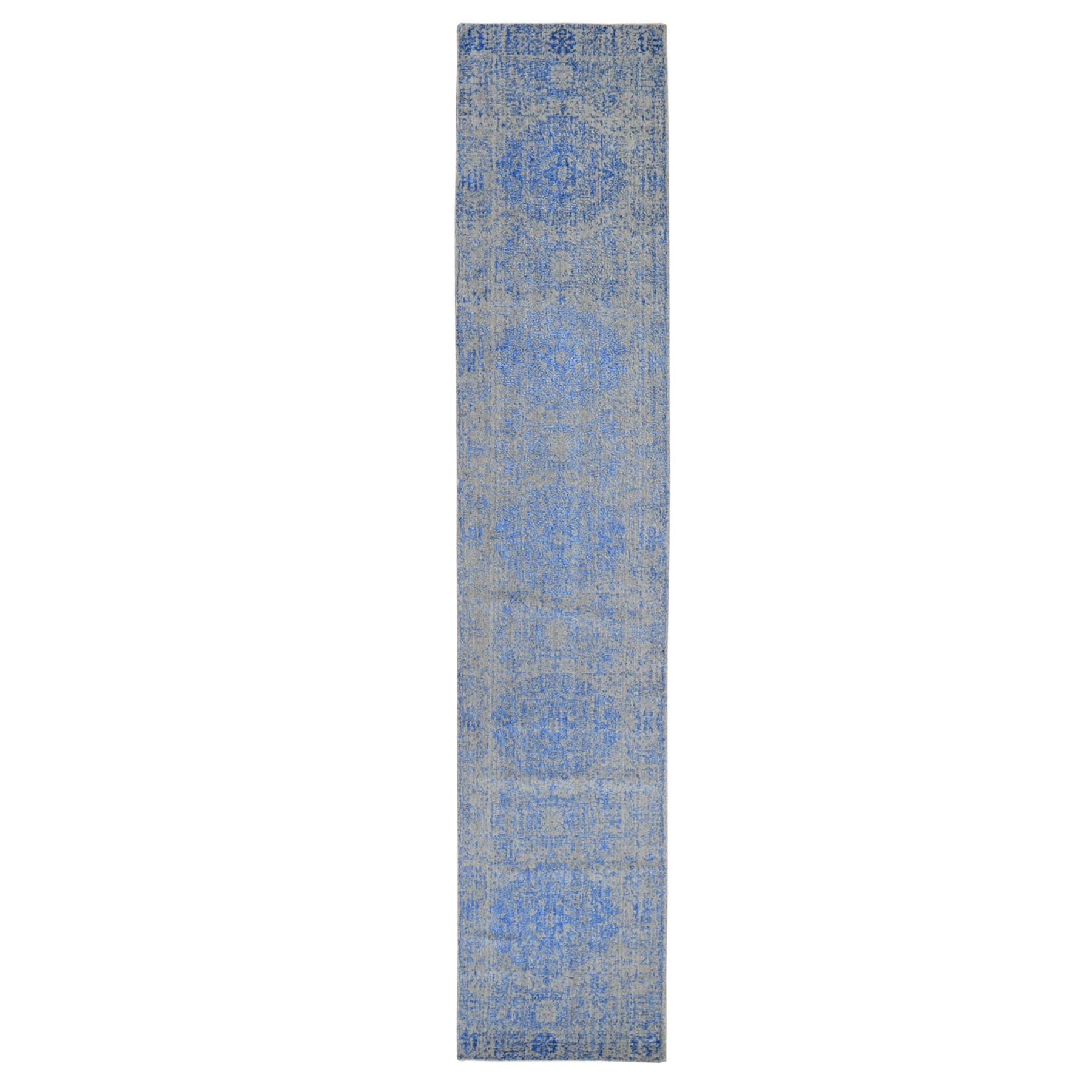 "2'6""x12' Blue Wool and Silk Mamluk Design Jacquard Hand Loomed Runner Oriental Rug"