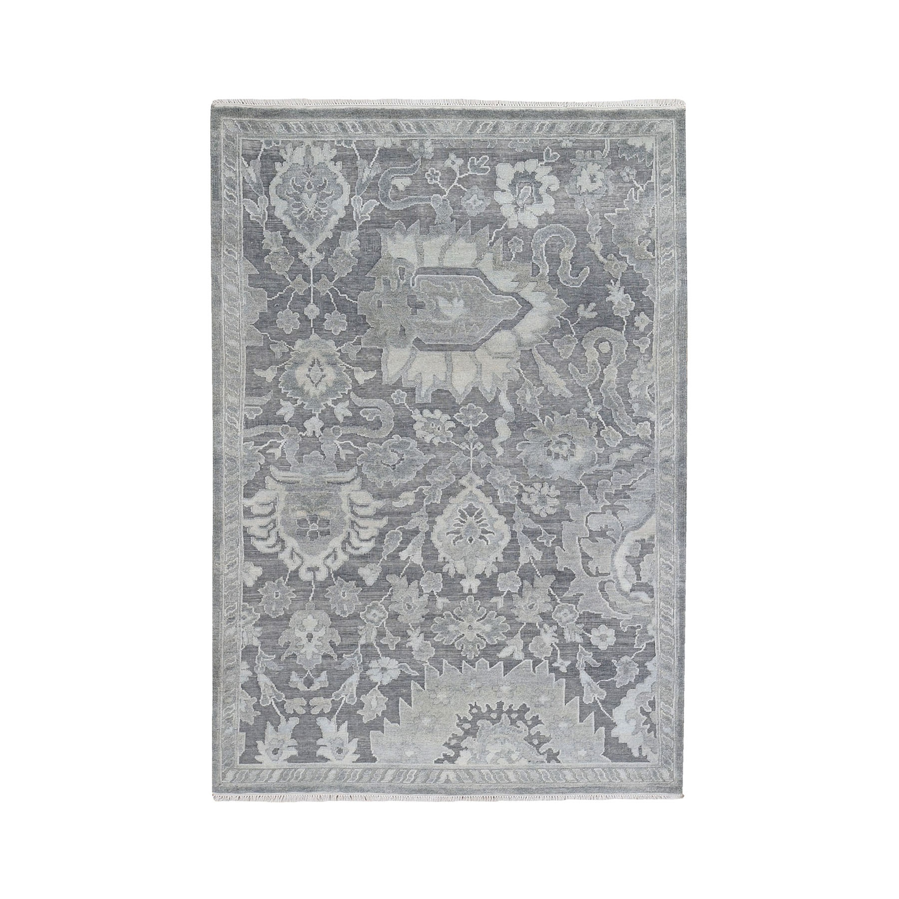 """4'x6'7"""" Gray Oushak Influence Silk with Textured Wool Hand Knotted Oriental Rug"""
