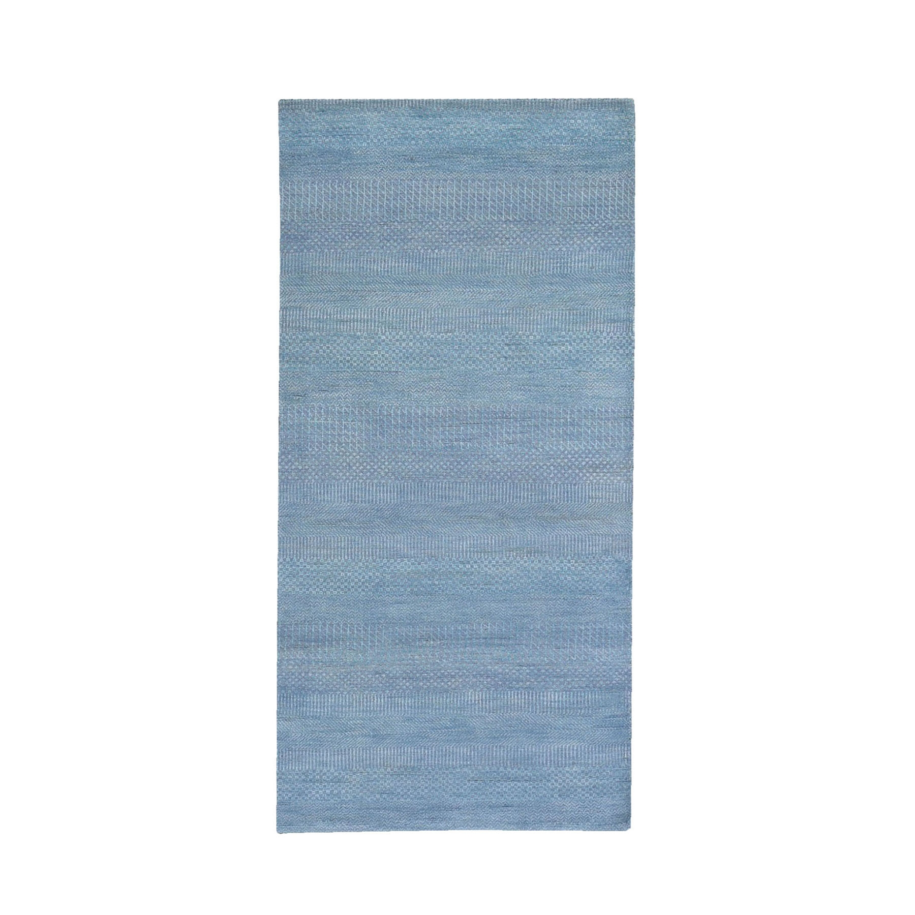 """2'9""""x6'1"""" Lavender with Touches of Blue Grass Design Wool and Silk Hand Knotted Runner Oriental Rug"""