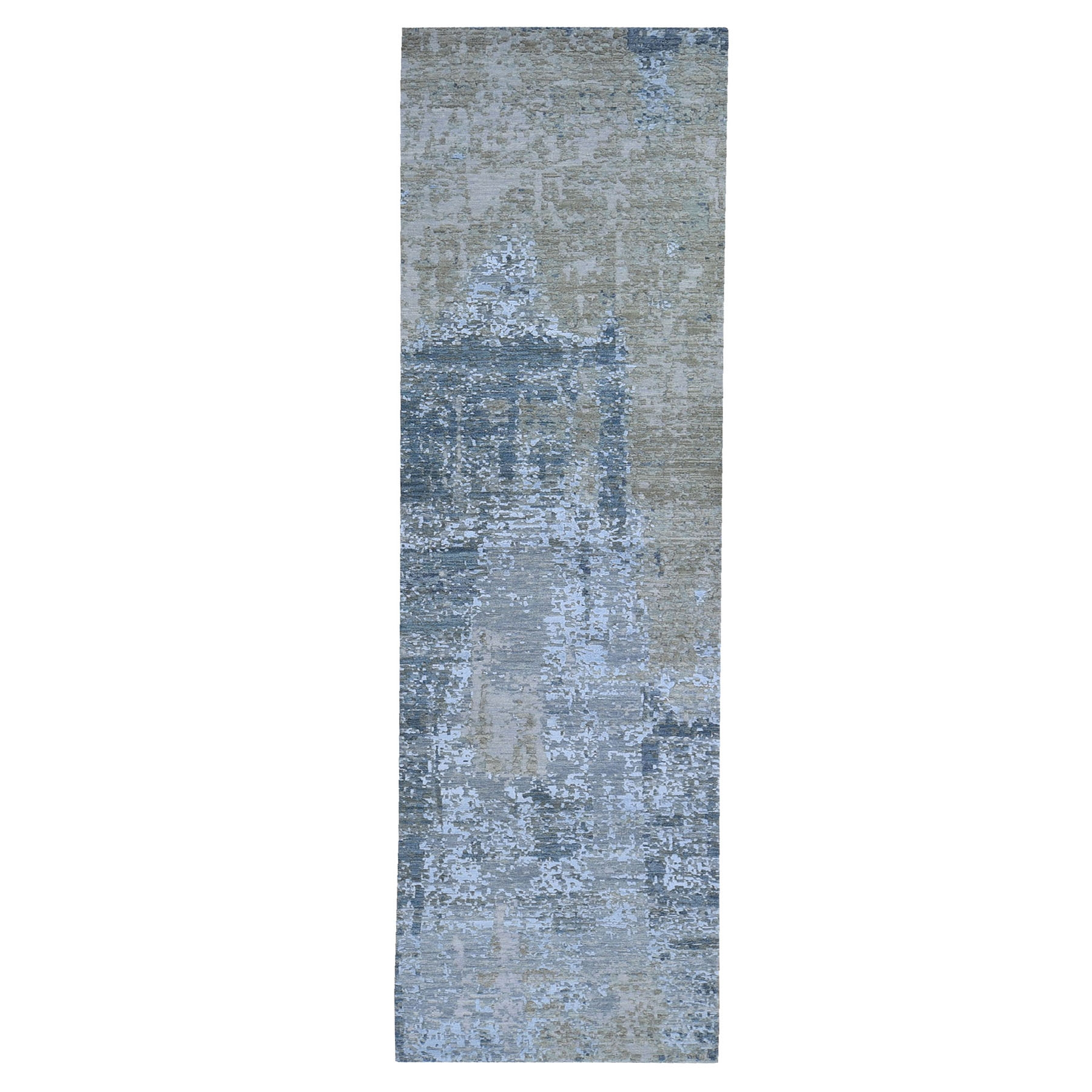 """2'6""""x12'3"""" Silver Blue Abstract Design Wool and Silk Hi-Low Pile Dense Weave Hand Knotted Oriental Rug"""