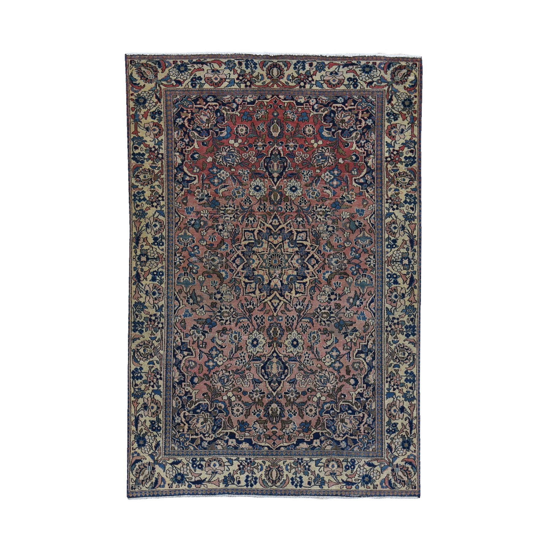 """4'2""""x6'10"""" Worn and Faded Out Vintage Persian Esfahan Organic Wool Hand Knotted Oriental Rug"""
