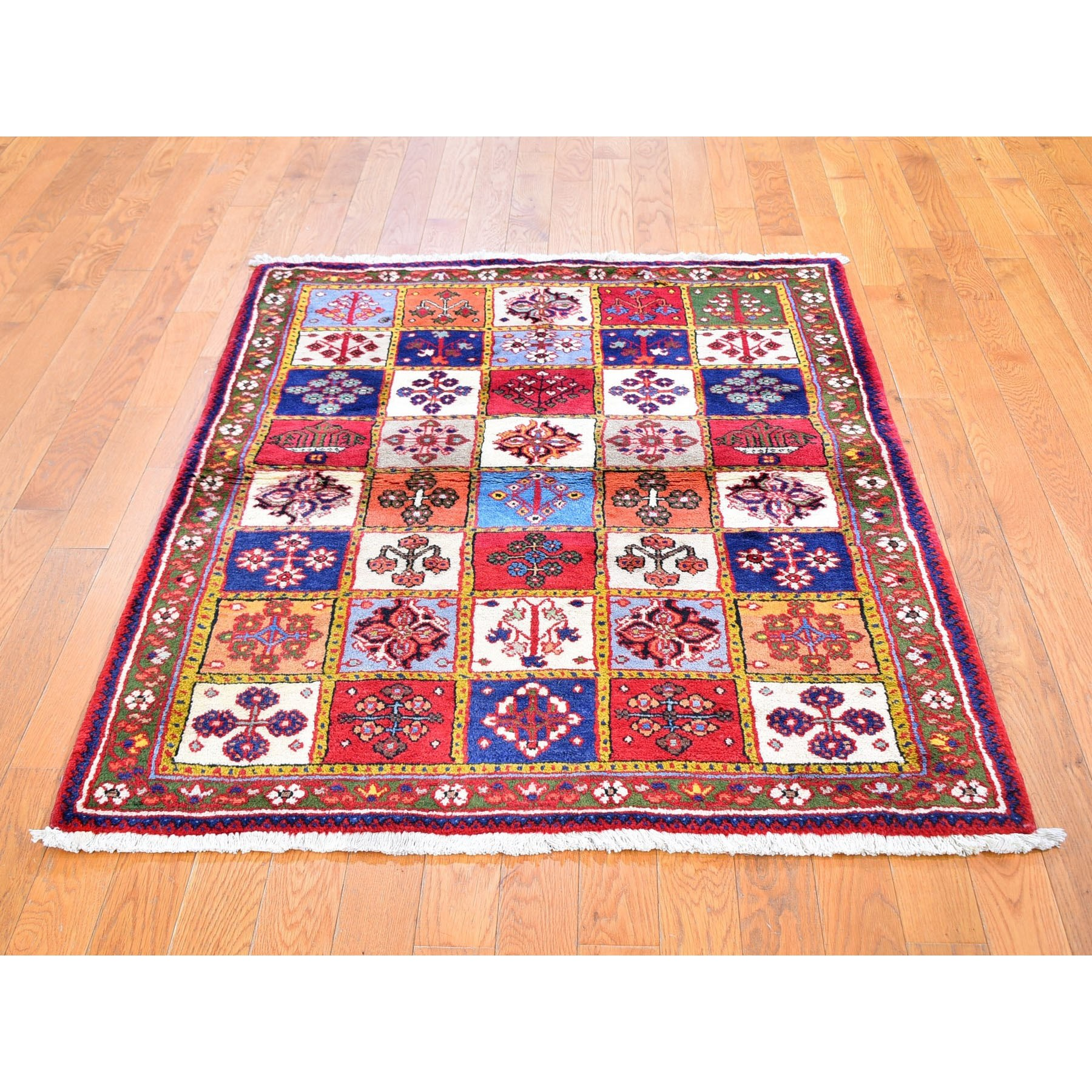 3 7 X5 2 Vintage Persian Tabriz Colorful Garden Design Hand Knotted Pure Wool Oriental Rug