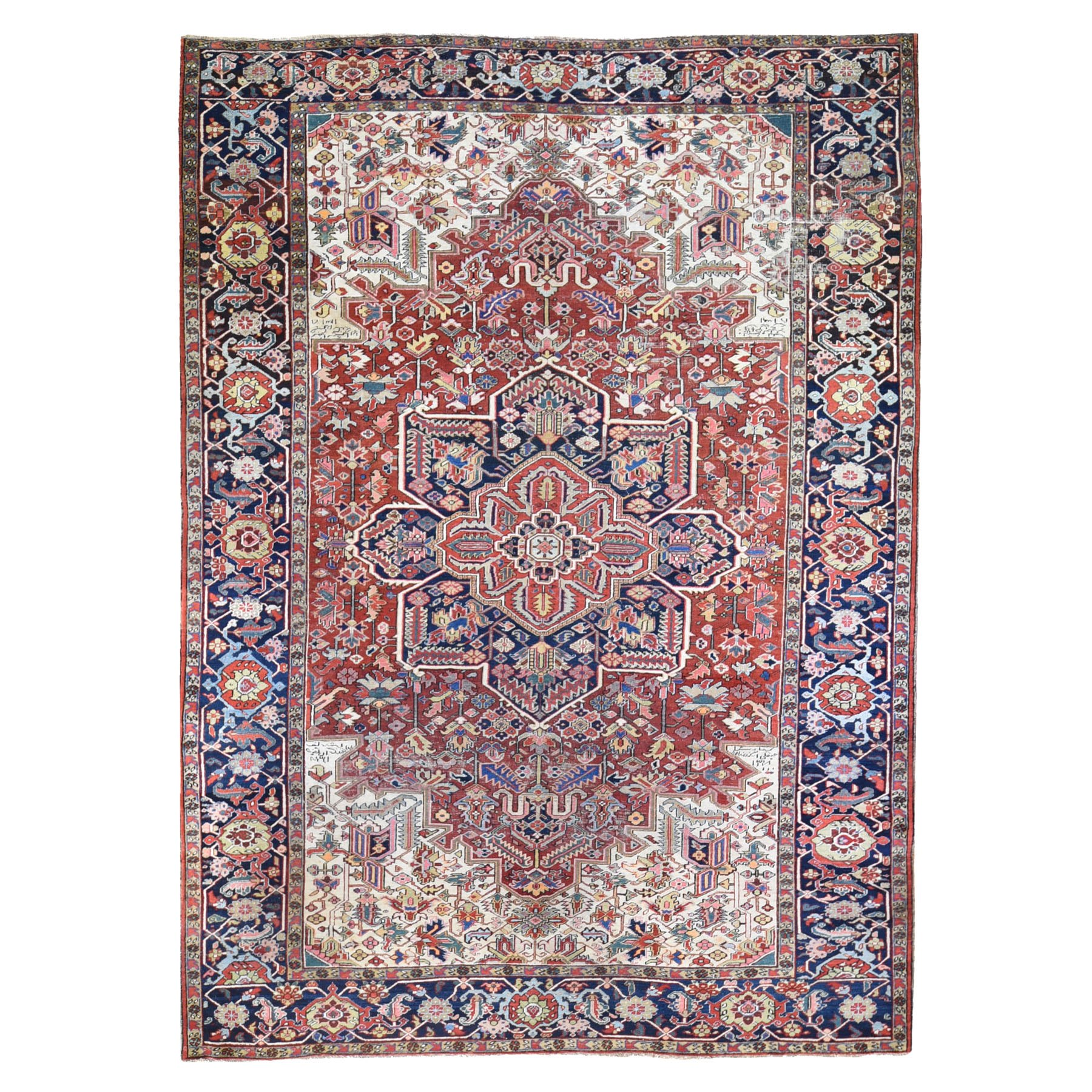"9'7""x12'9"" Antique Persian Heriz Signed and Dated Some Wear Clean Pure Wool Hand Knotted Oriental Rug"