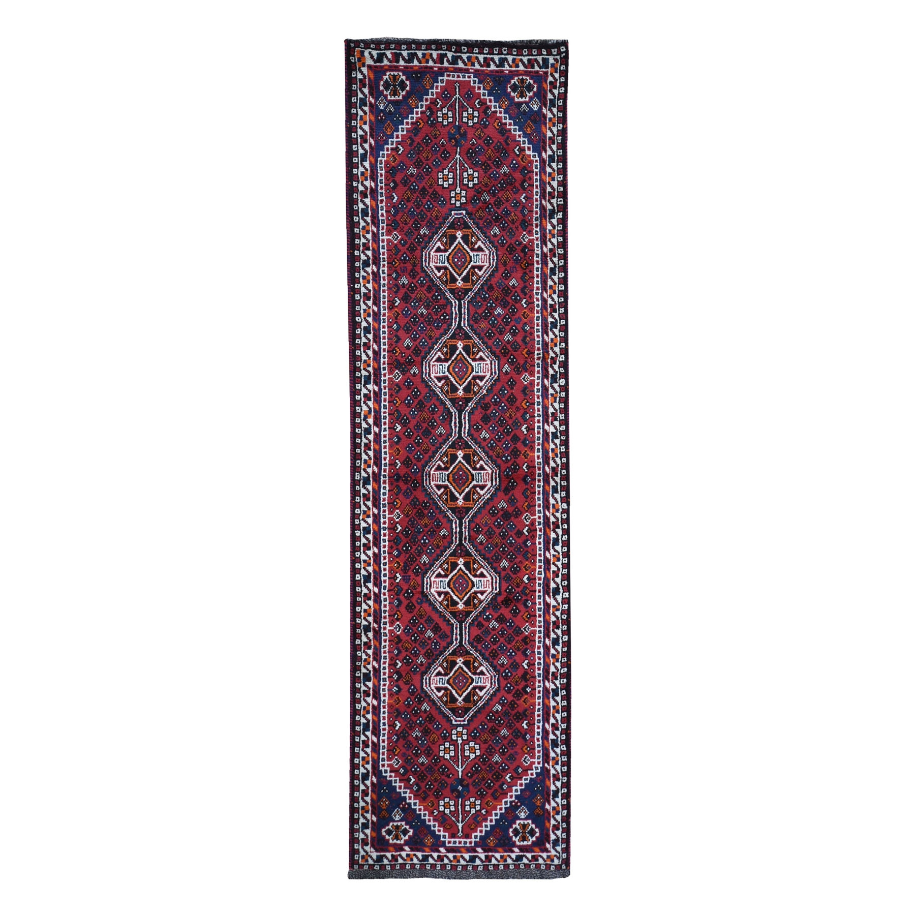 "2'6""x9'7"" New Persian Shiraz Runner Serrated Medallion Organic Wool Hand Knotted Oriental Rug"