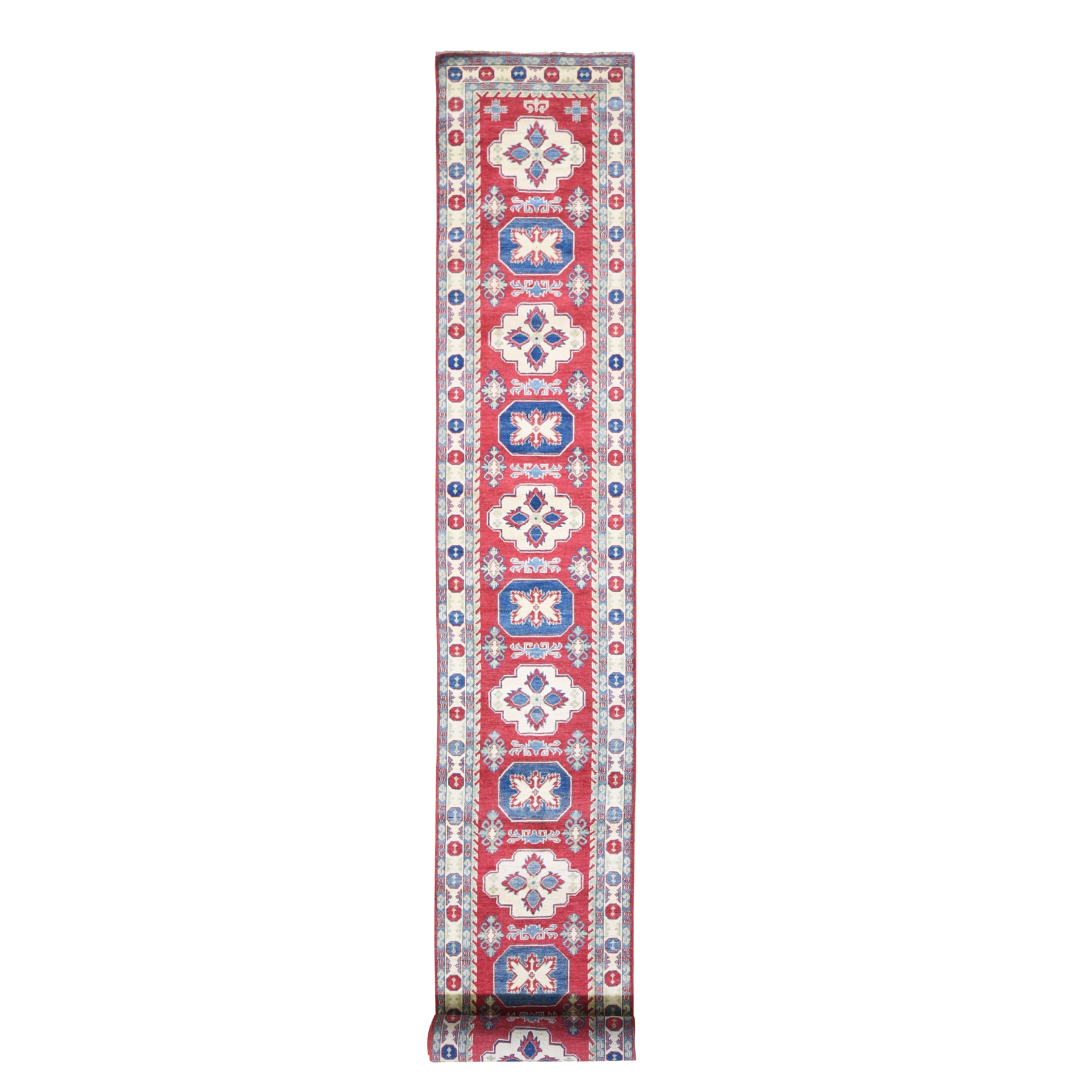 "2'8""x20' Red Extra Long Kazak Runner Organic Wool Hand Knotted Oriental Rug"