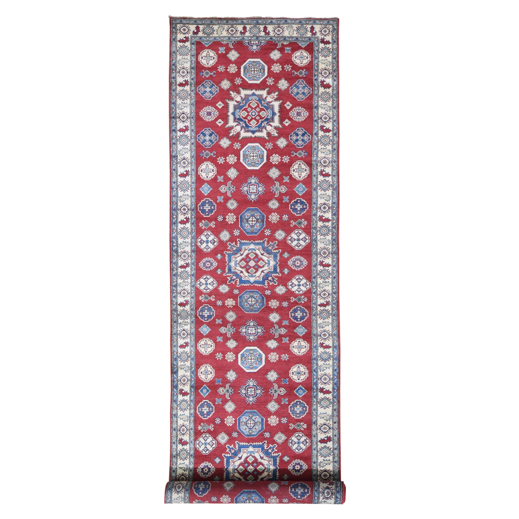 "3'10""x17'3"" Extra Long Wide Kazak Runner Hand Knotted Natural Wool Oriental Rug"