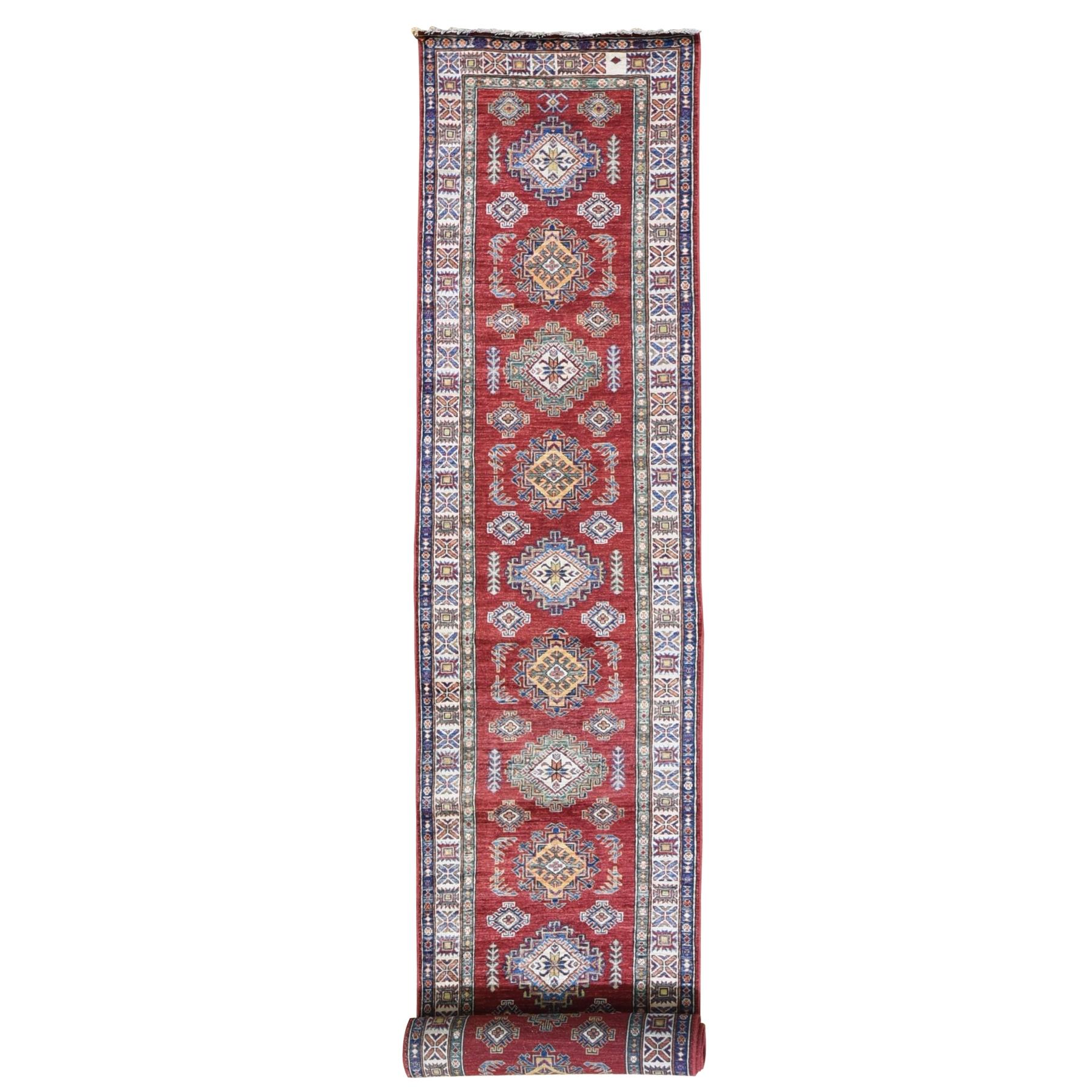 "2'9""x17'6"" Red Hand Knotted Super Kazak XL Runner Pure Wool Oriental Rug"