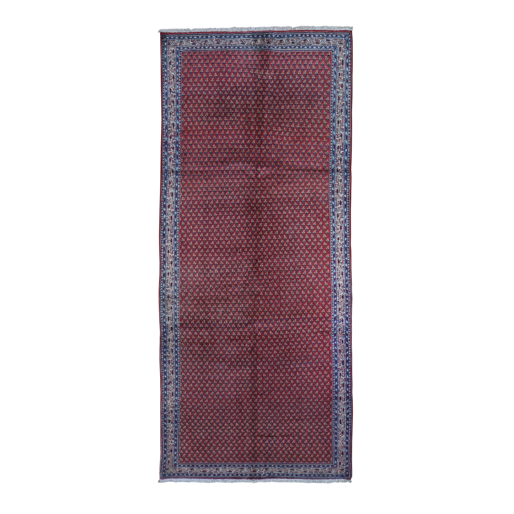 """4'6""""x10'9"""" Vintage Persian Serab Runner All Over Repetitive Design Natural Wool Hand Knotted Good Condition Clean Oriental Rug"""