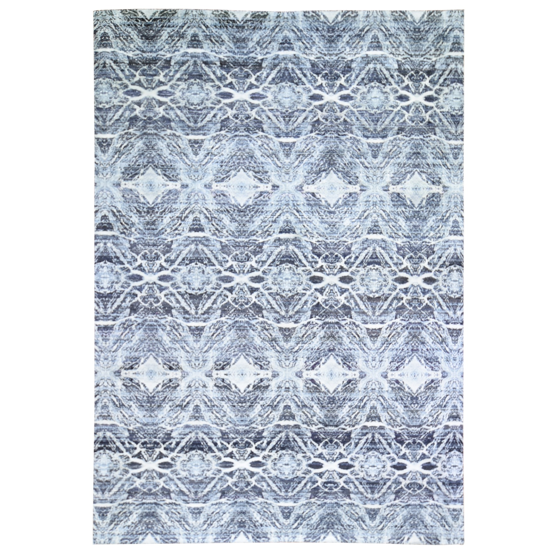 """8'8""""x12'1"""" Real Pure Silk Charcoal Black Transitional Design Hand Knotted Oriental Rug"""