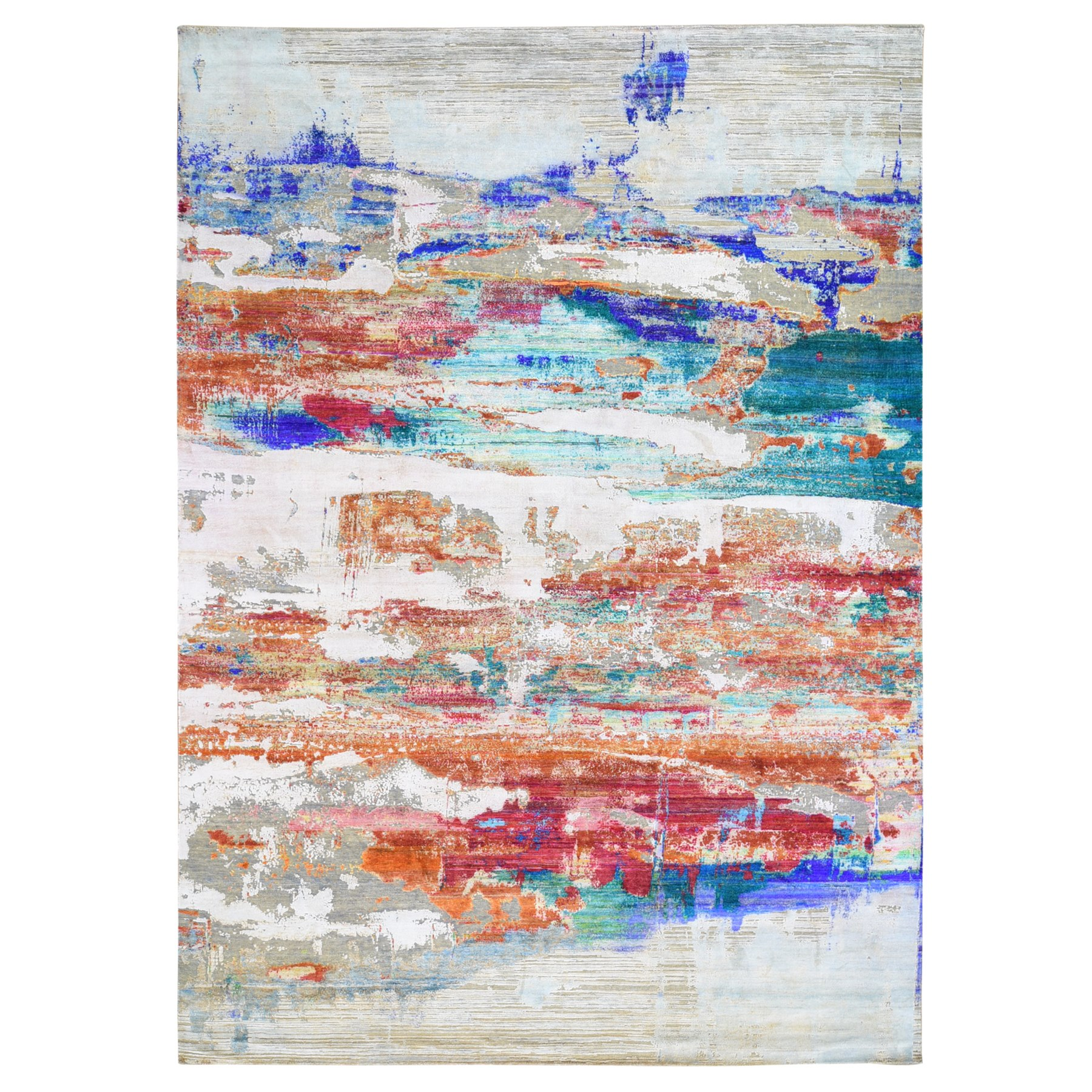 """9'x12'3"""" Real Pure Silk Colorful Abstract Design Hand Knotted Oriental Rug"""