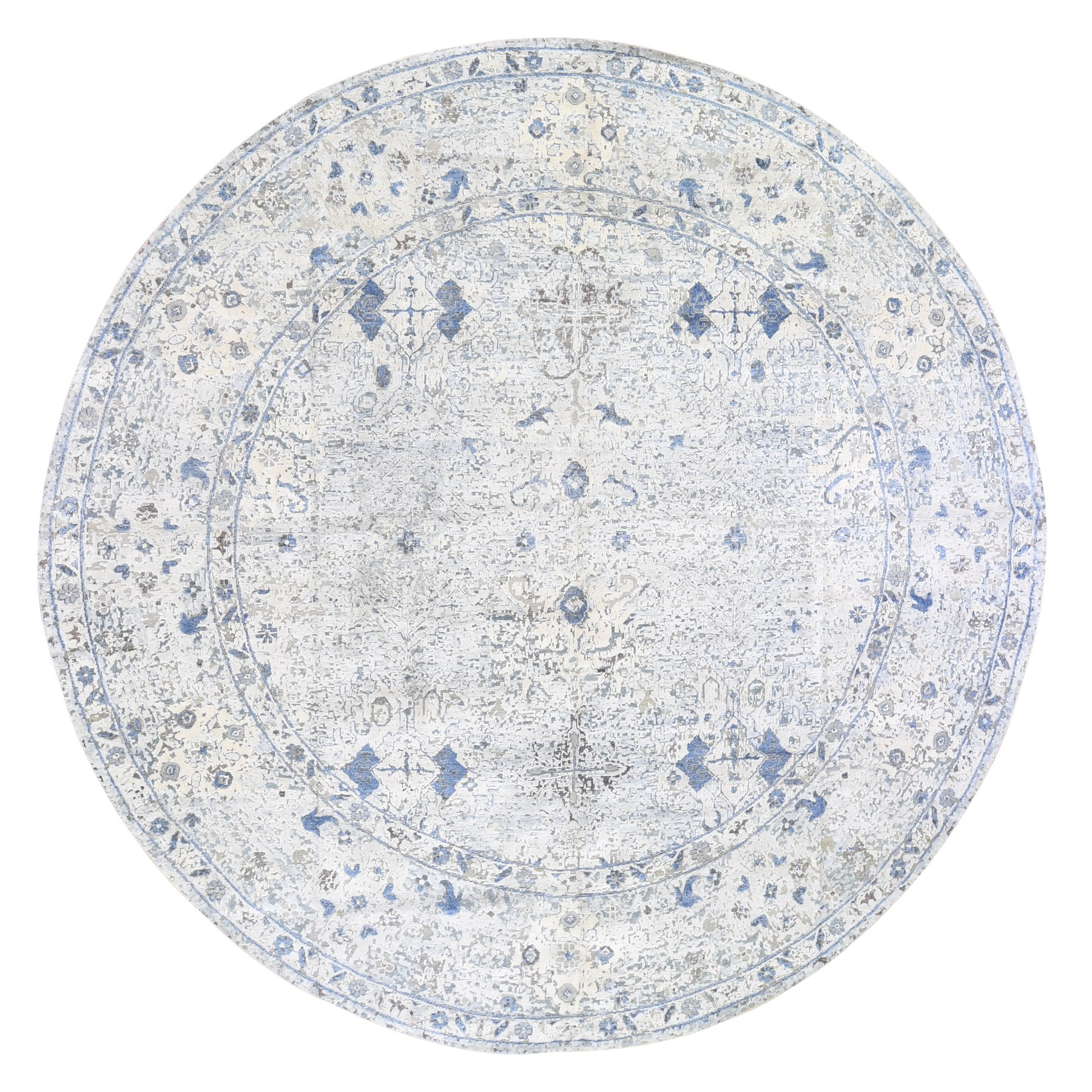 """11'7""""x11'7"""" Distressed Oushak Pure Silk with Textured Wool Hand Knotted Round Oriental Rug"""