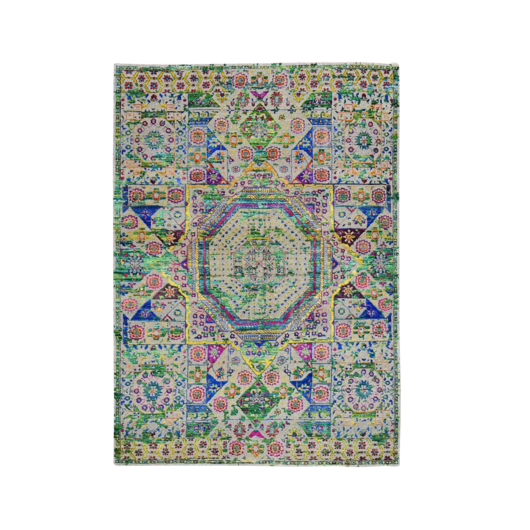 5'x7' Colorful Sari Silk Mamluk Design Hand Knotted Oriental Rug