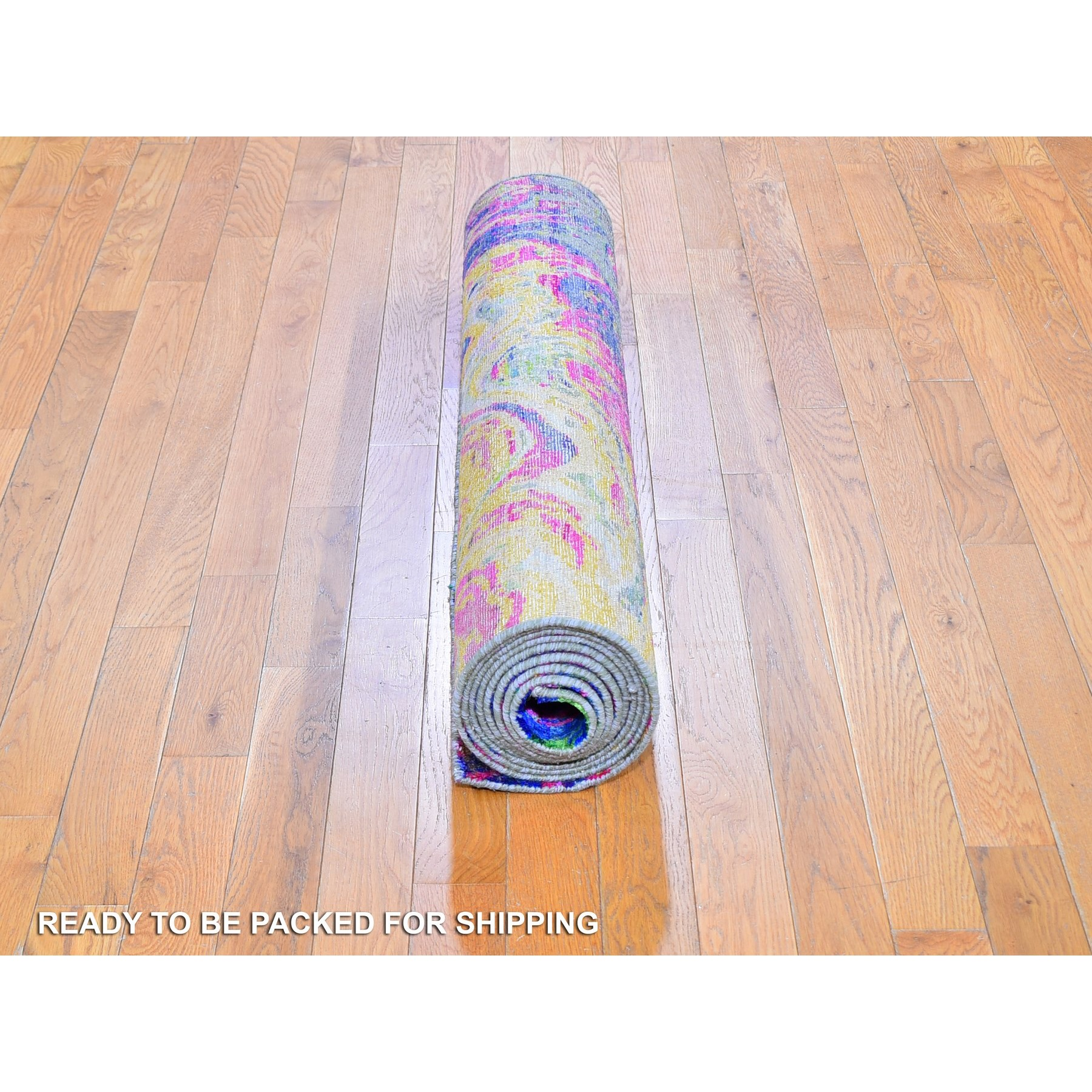 """3'10""""x11'9"""" Colorful Sari Silk with Textured Wool The Lava Design Wide Runner Hand Knotted Oriental Rug"""