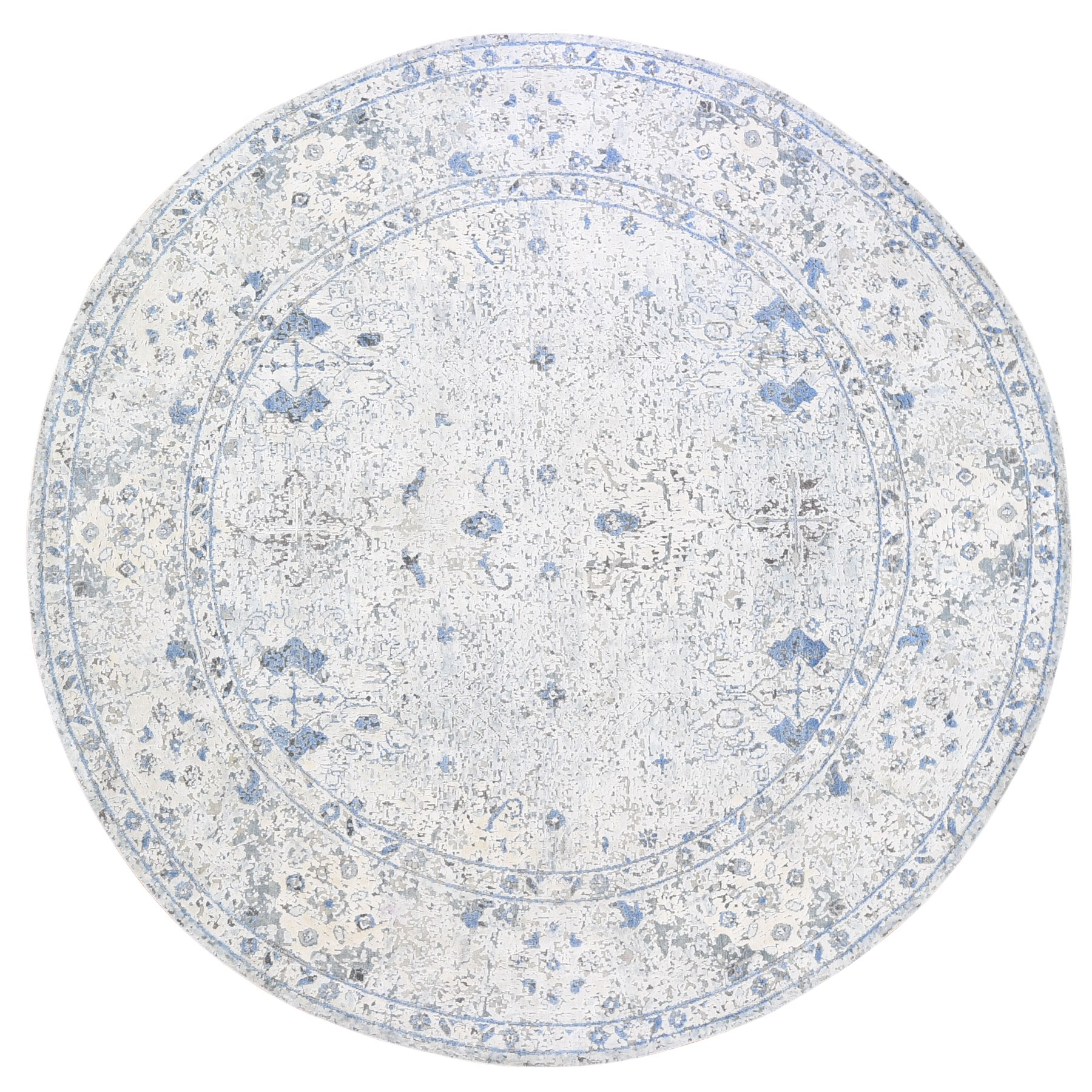 """9'10""""x9'10"""" Distressed Oushak Pure Silk with Textured Wool Hand Knotted Round Oriental Rug"""