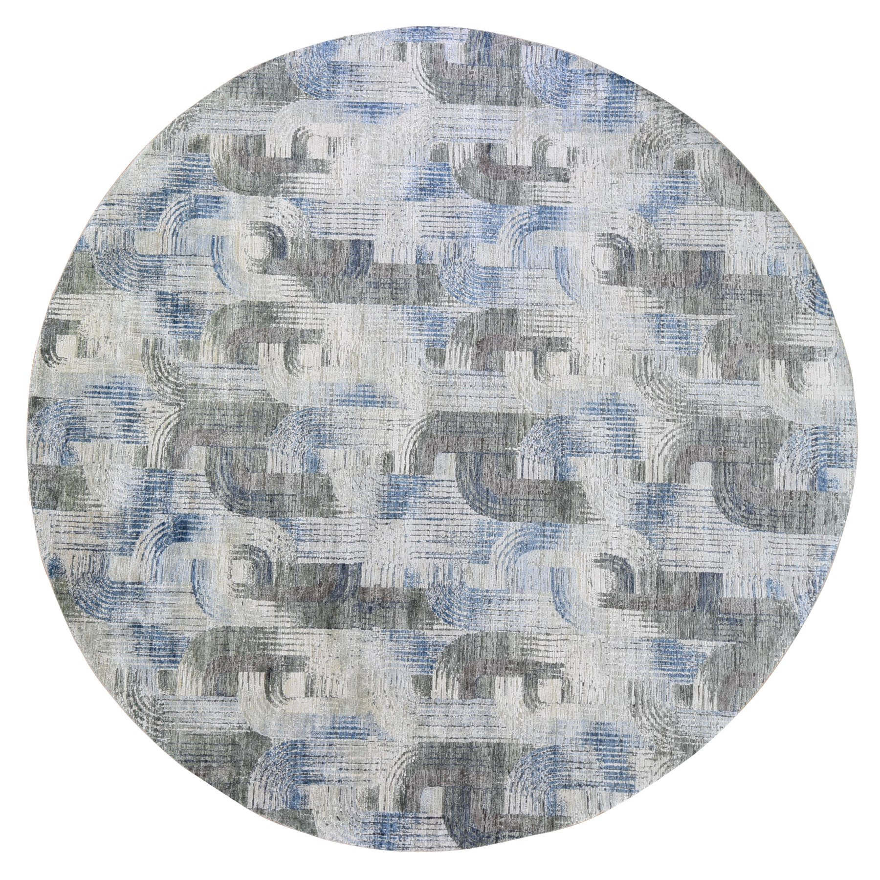 """9'10""""x9'10"""" THE INTERTWINED PASSAGE, Silk with Textured Wool Hand Knotted Round Oriental Rug"""