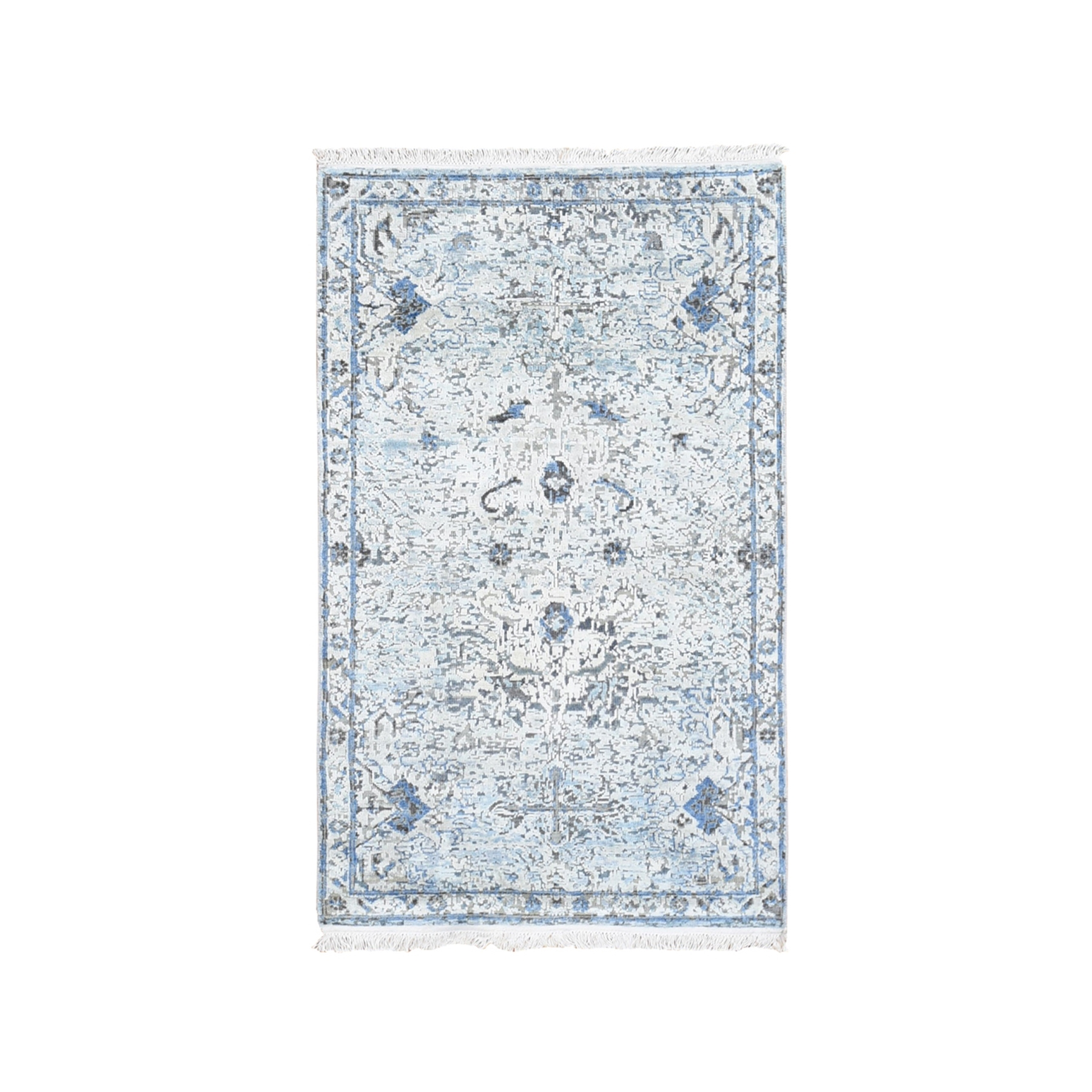 "3'x5'2"" Blue Pure Silk with Textured Wool Distressed Oushak Hand Knotted Oriental Rug"