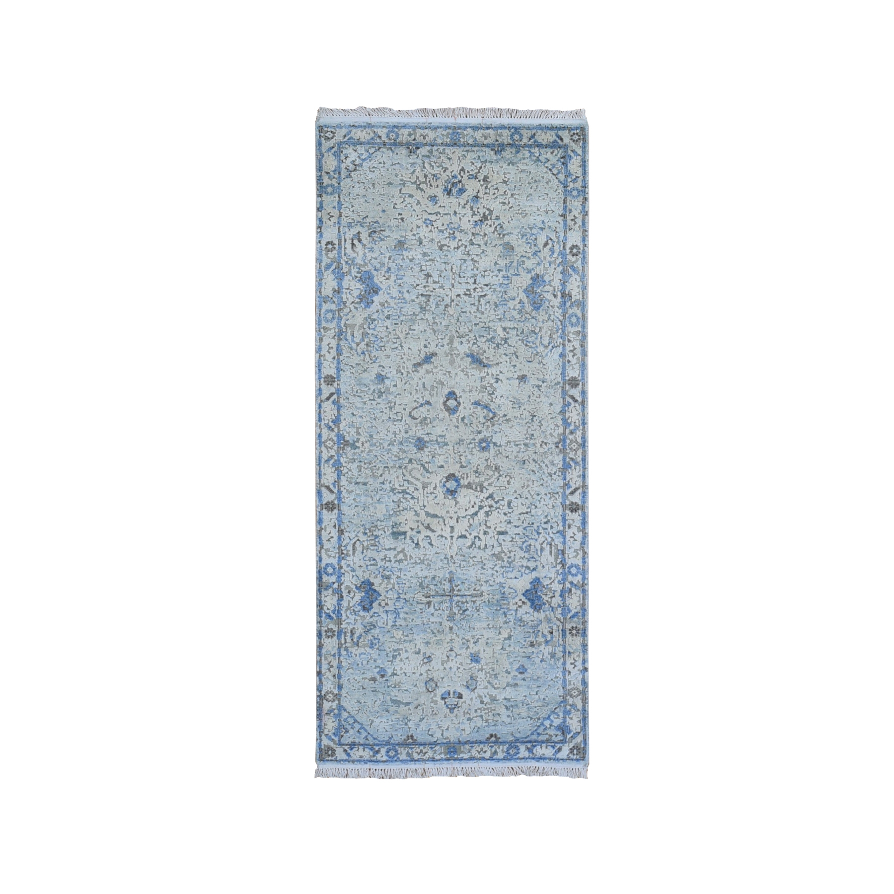 "2'6""x6' Blue Distressed Oushak Pure Silk with Textured Wool Wide Runner Hand Knotted Oriental Rug"