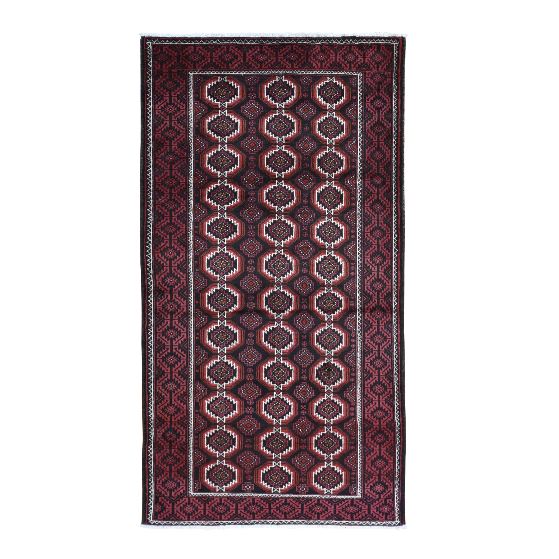 """4'4""""x8' Vintage Persian Large Baluch Pure Wool Runner Geometric Hand Knotted Oriental Rug"""