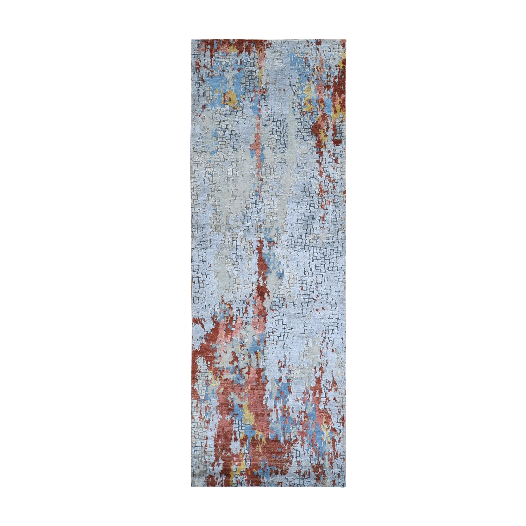 """2'7""""x7'8"""" Wool and Silk Abstract with Fire Mosaic Design Hand Knotted Runner Oriental Rug"""