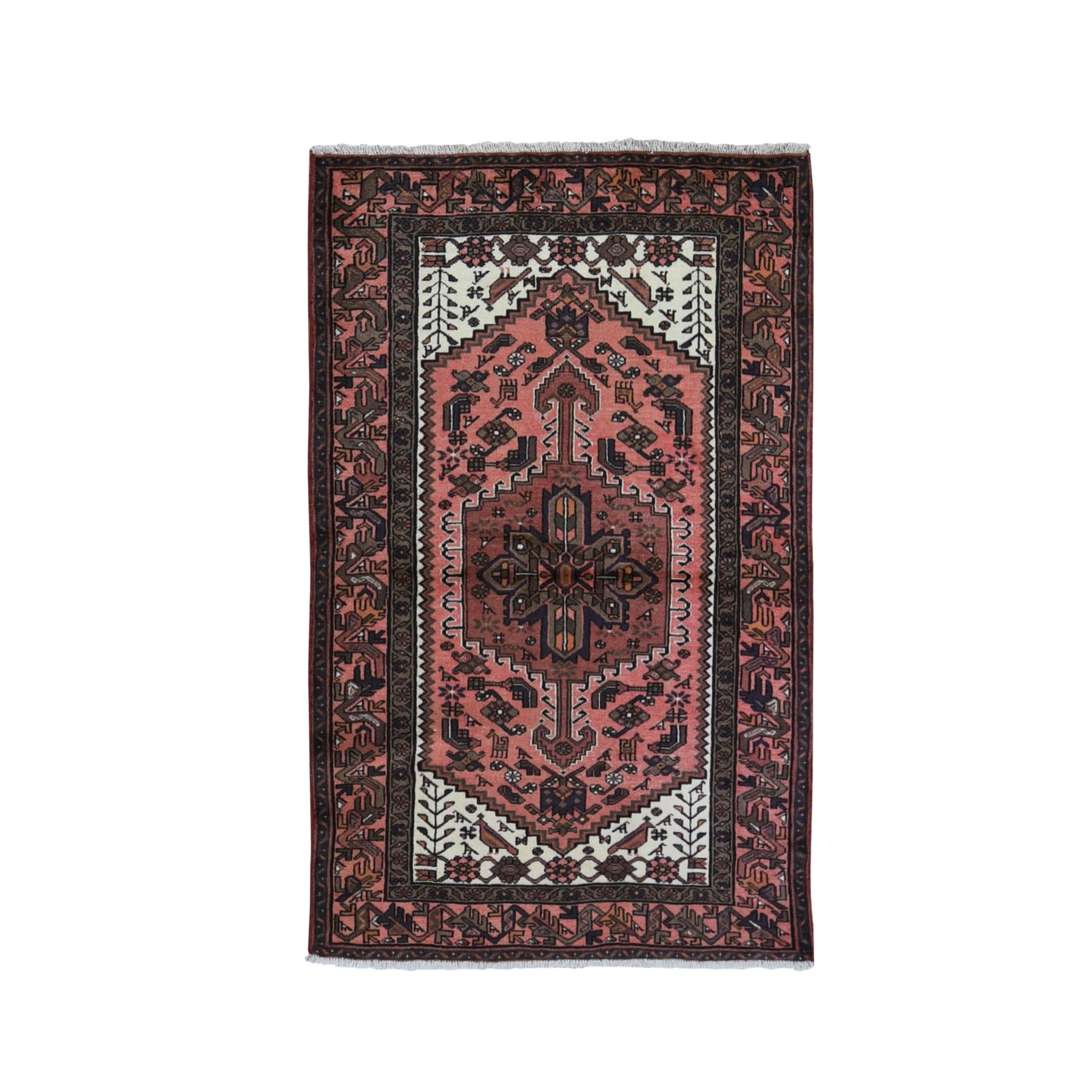 "4'x6'4"" New Persian Hamadan Birds and Animal Figurines Organic Wool Hand Knotted Oriental Rug"