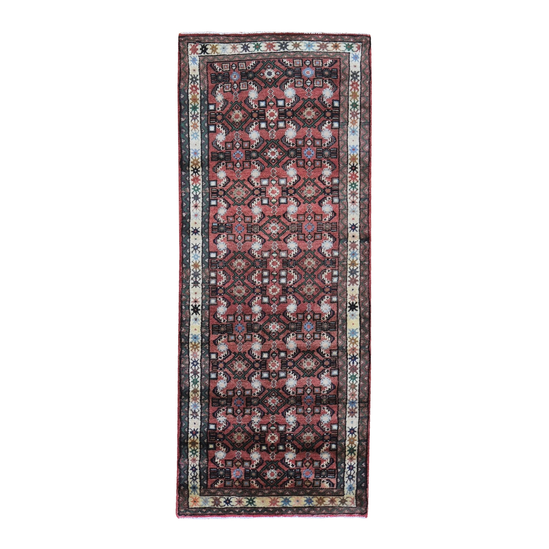 "2'6""x6'3"" New Persian Hamadan Herat All Over Fish Design Pure Wool Hand Knotted Oriental Rug"