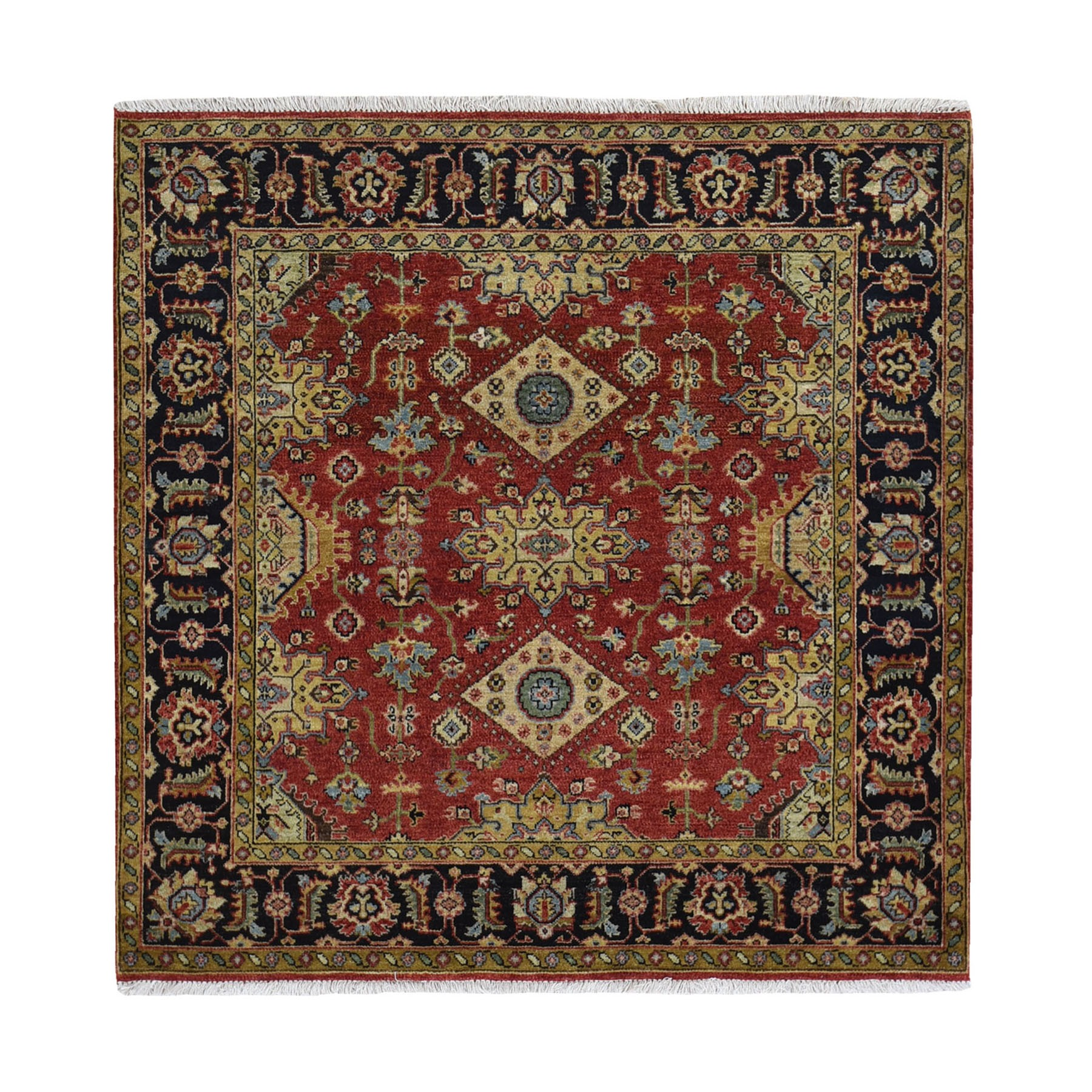5'x5' Red Karajeh Design Pure Wool Square Hand Knotted Oriental Rug