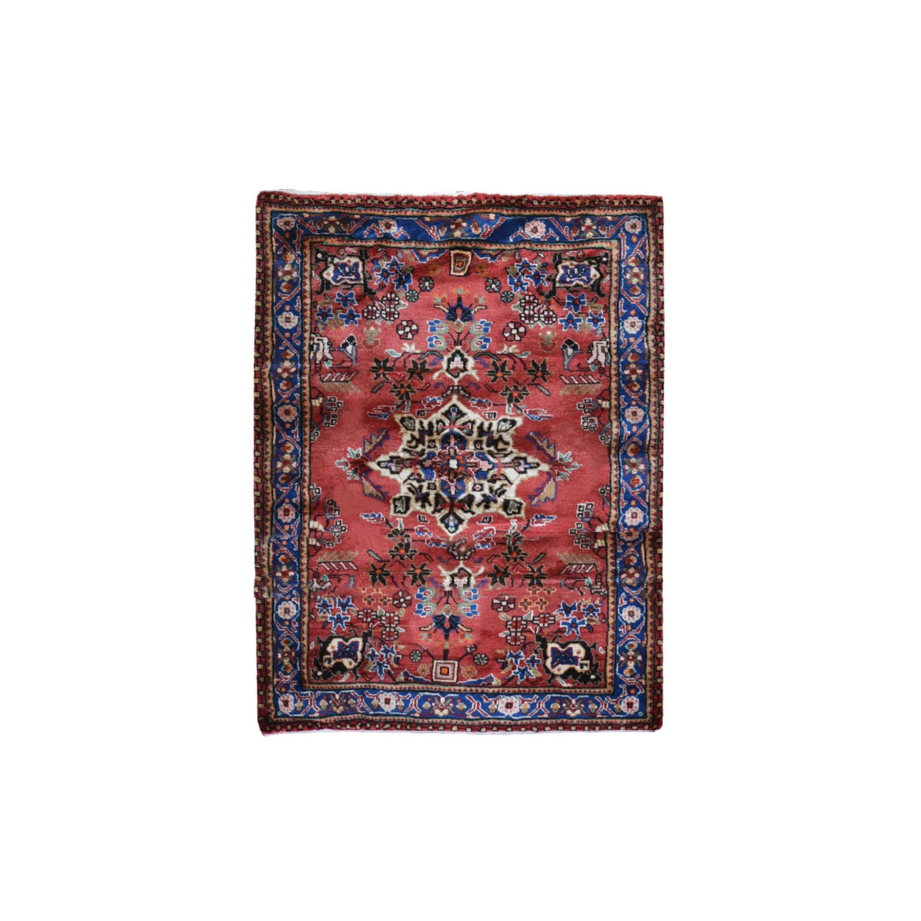 "3'7""x4'10"" New Persian Hamadan Small Medallion Design Red Hand Knotted Pure Wool Oriental Rug"