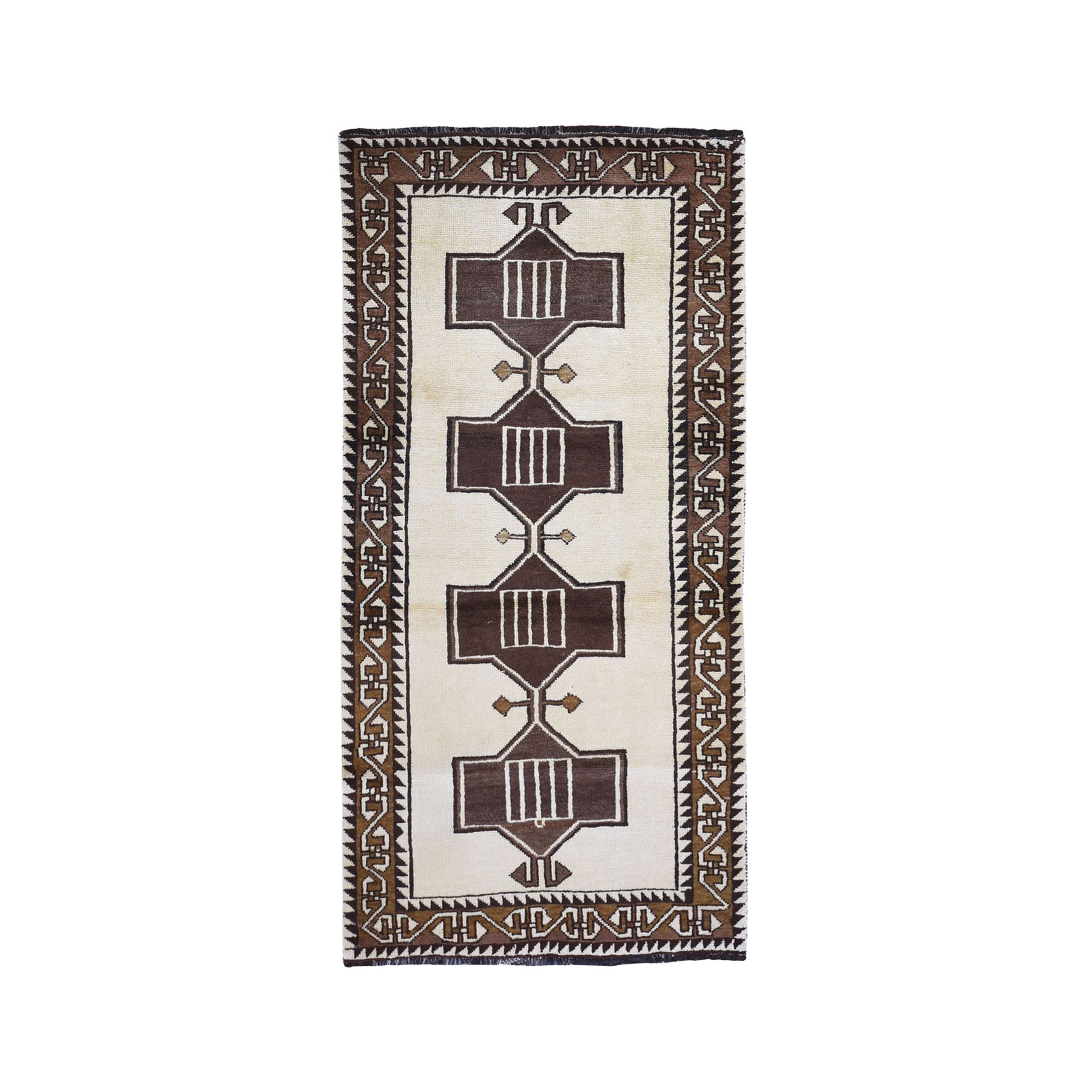 """3'5""""x7'4"""" New Persian Gabbeh Geometric Design Wide Runner Undyed Wool Hand Knotted Oriental Rug"""