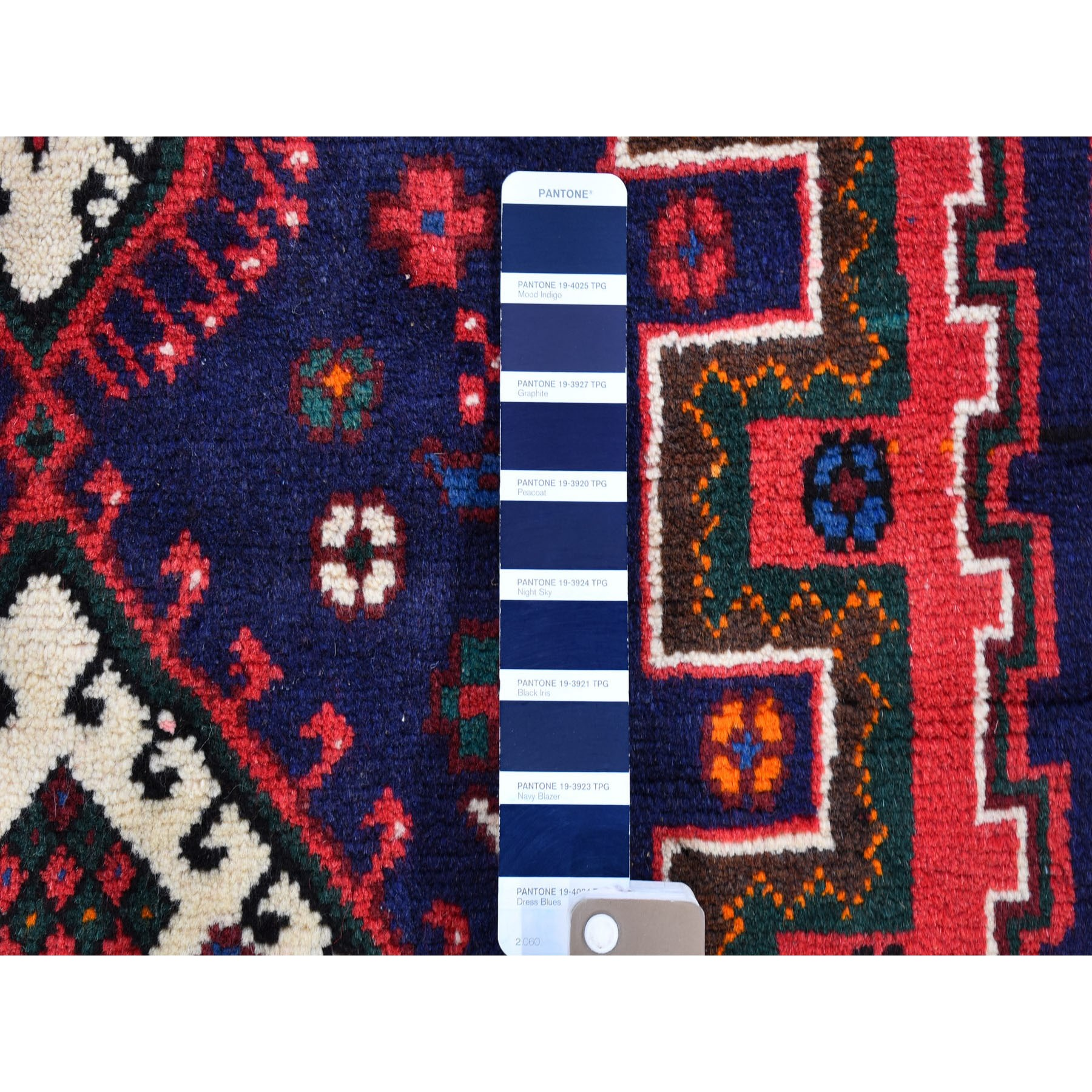 """3'6""""x7' Navy Blue New Persian Shiraz Geometric Design Hand Knotted Pure Wool Oriental Rug"""