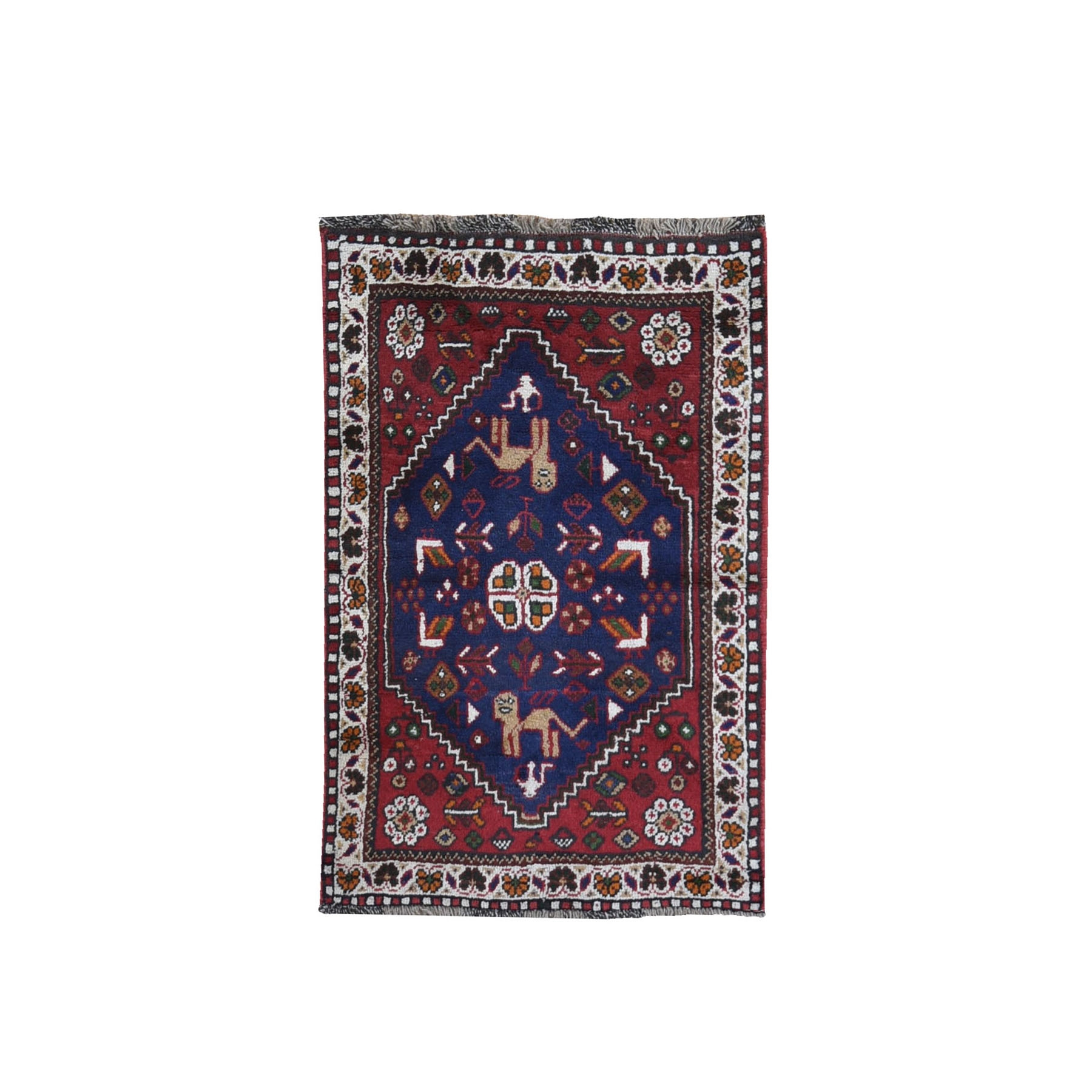 "2'4""x3'9"" New Persian Shiraz with Dog Figurines Hand Knotted Organic Wool Mat Oriental Rug"