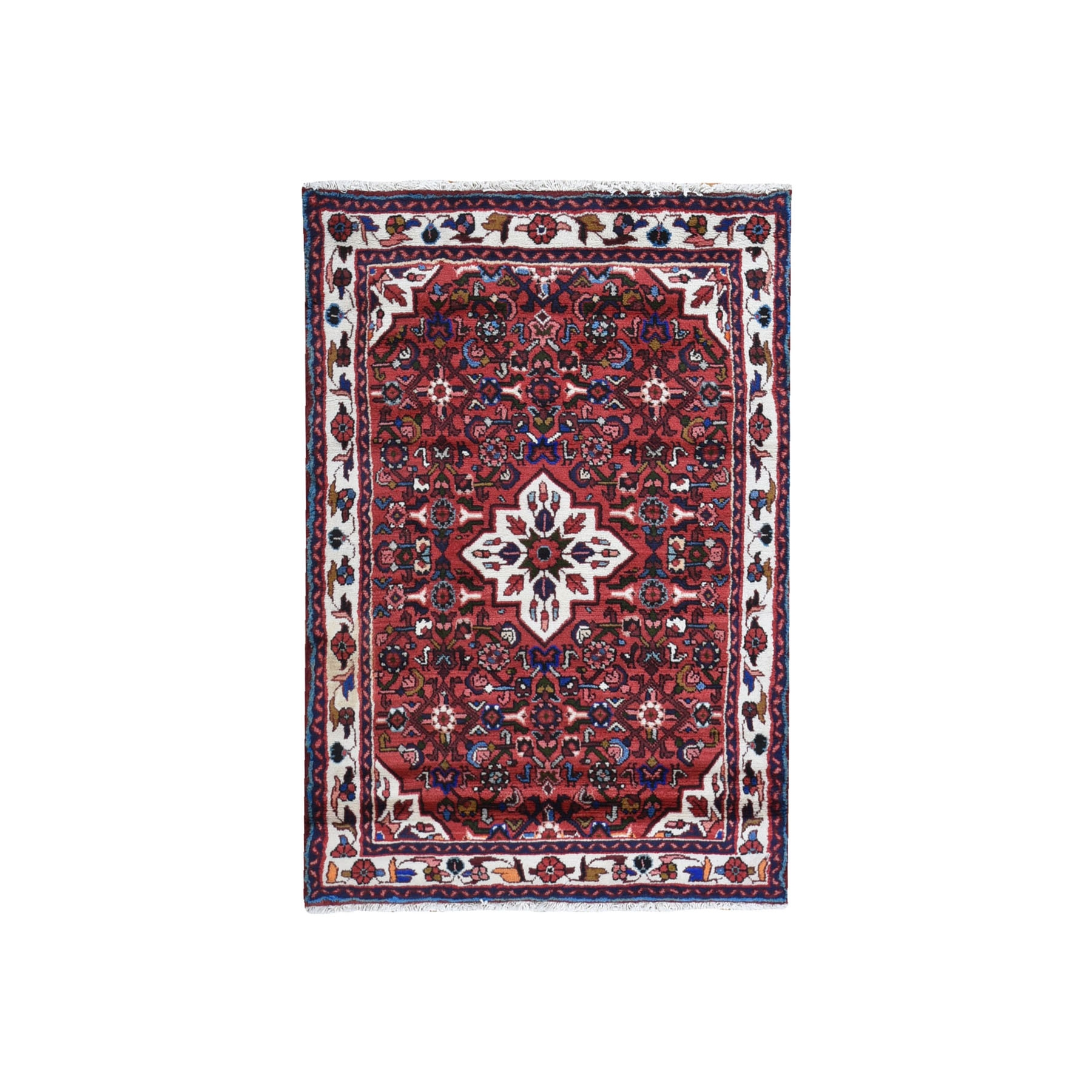 """3'6""""x5'1"""" Red Natural Wool New Persian Hamadan Flower Medallion Design Hand Knotted Oriental Rug"""