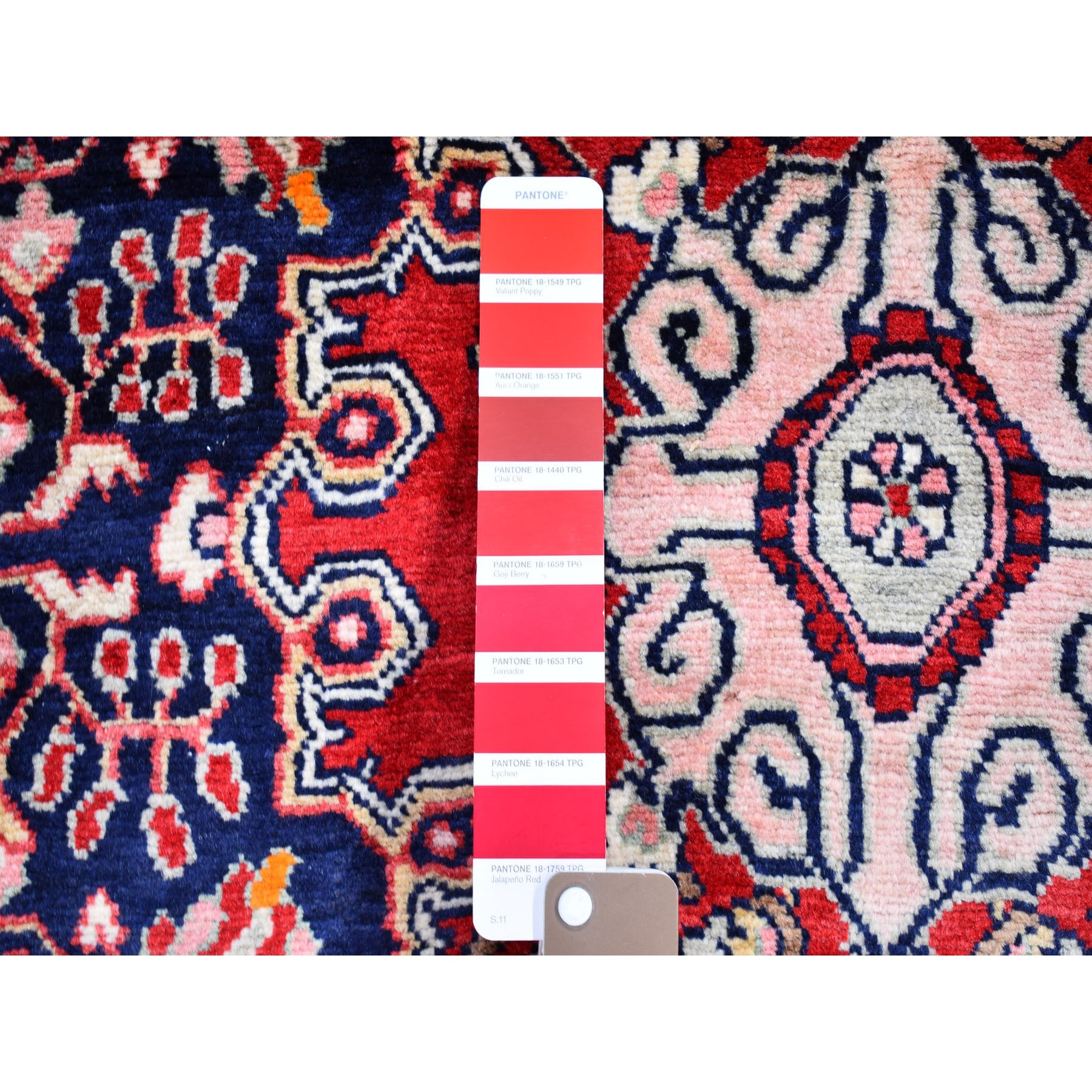 """4'1""""x7'4"""" New Persian Josan Sarouk Thick and Plush Navy Blue Pure Wool Hand Knotted Oriental Rug"""