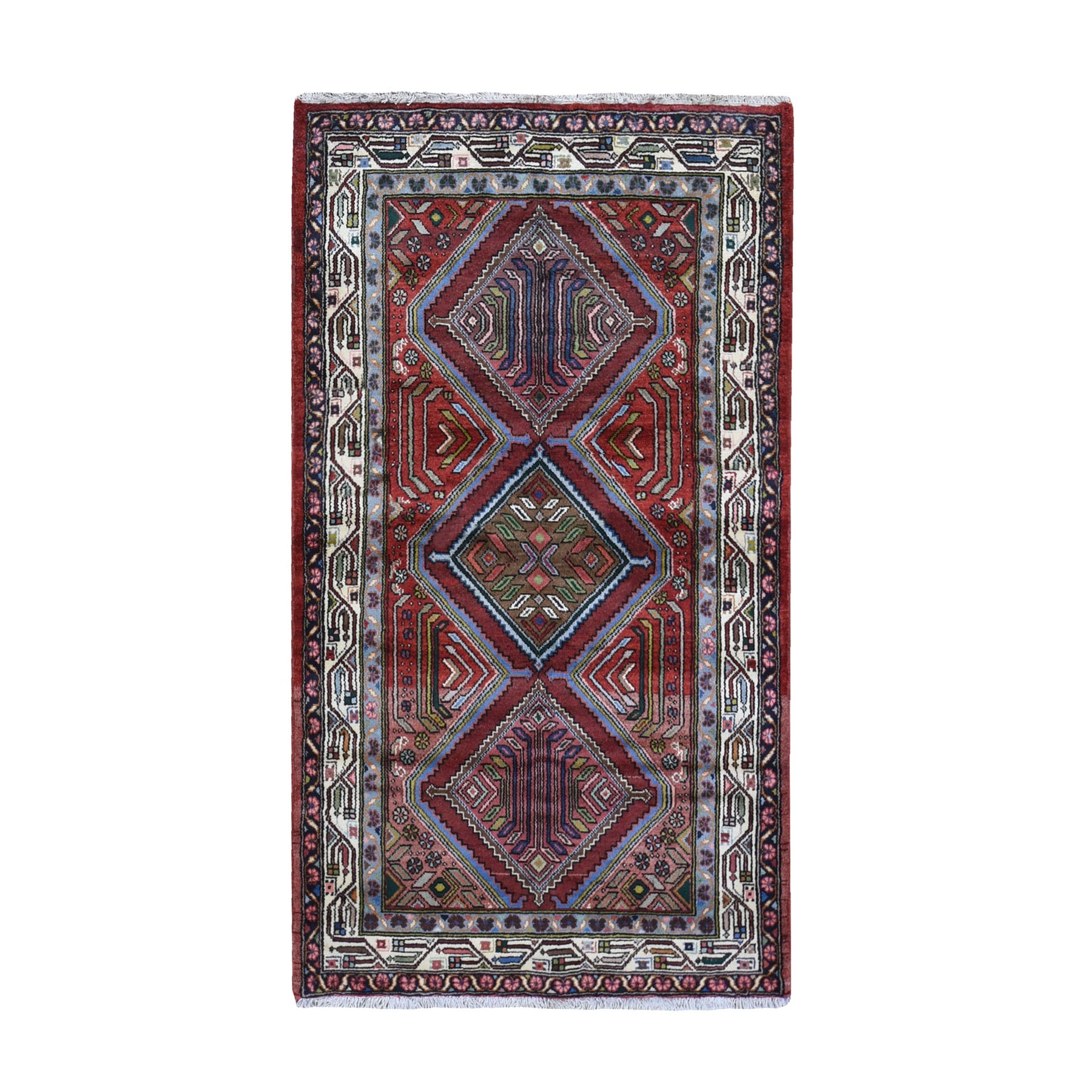 "3'8""x6'5"" New Persian Malayer with Abrash Geometric Design Pure Wool Hand Knotted Oriental Rug"