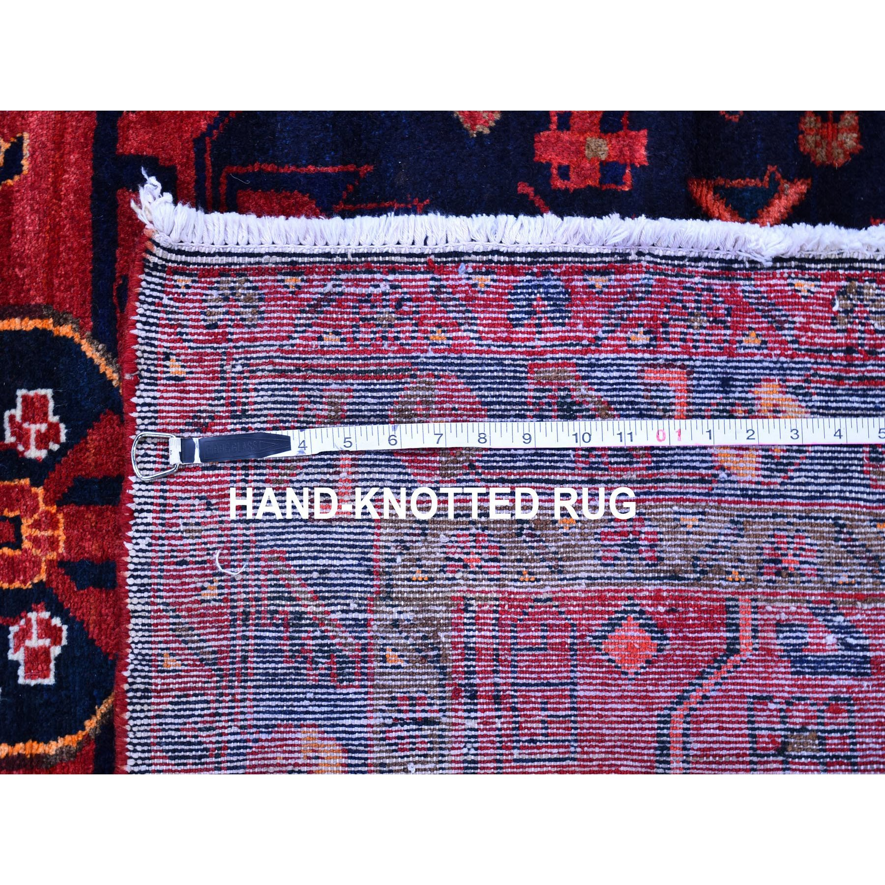 """4'6""""x7' Organic Wool Vintage Persian Hamadan with Saturated Colors Abrash Hand Knotted Oriental Rug"""