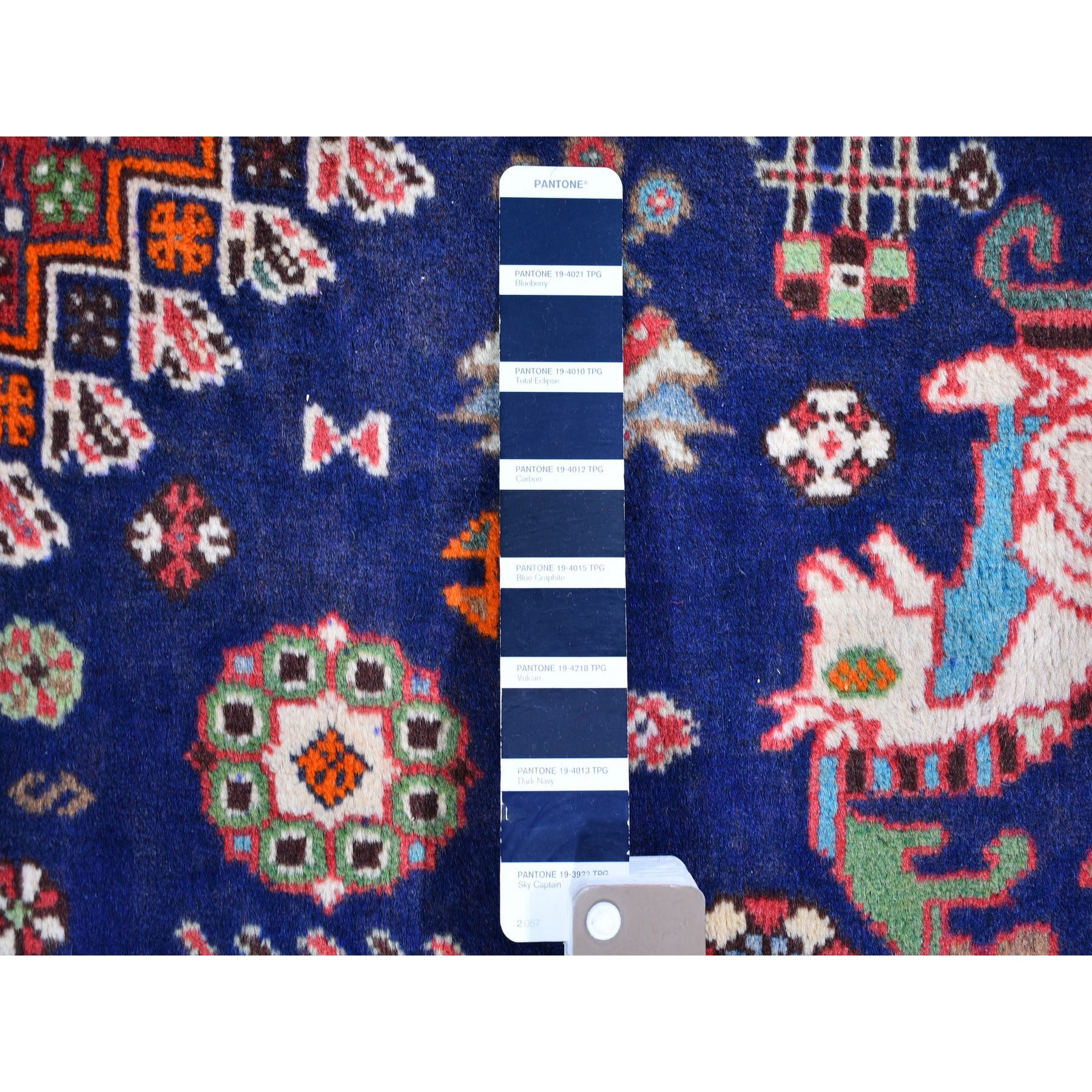 """6'8""""x9'6"""" Navy Blue New Persian Shiraz with Serrated Medallions and Horse Figurines Pure Wool Hand Knotted Oriental Rug"""