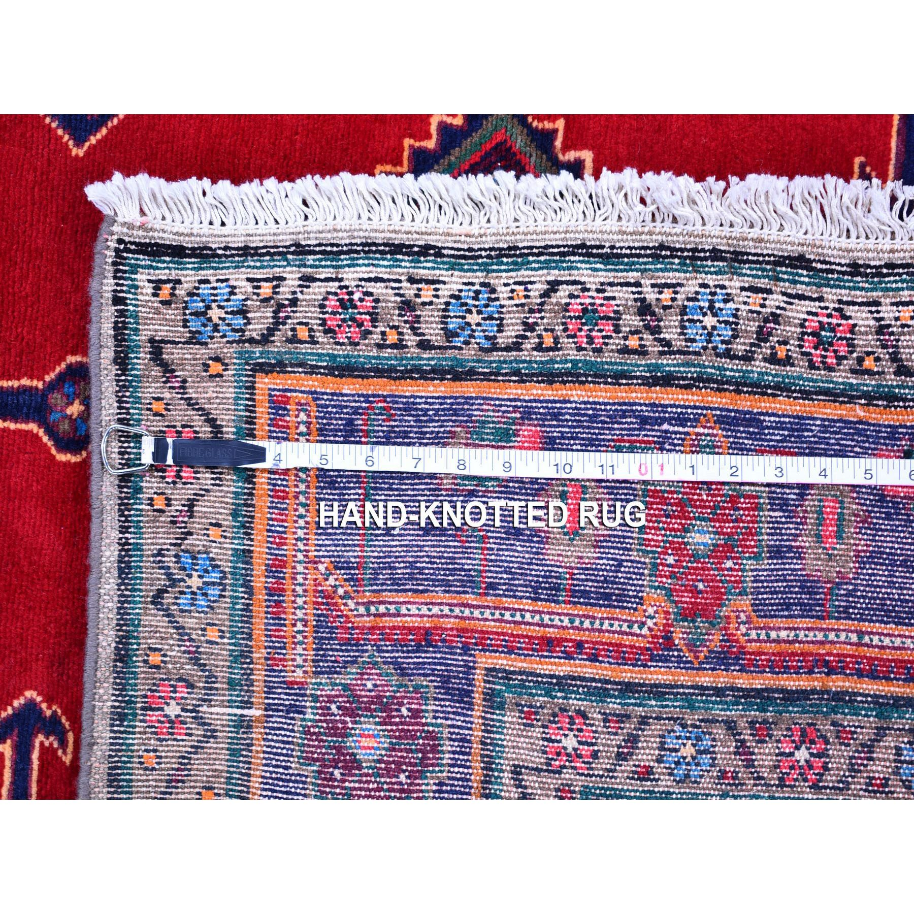 """5'1""""x9'4"""" New Persian Hamadan Geometric Medallion and Red Open Field Pure Wool Hand Knotted Oriental Rug"""