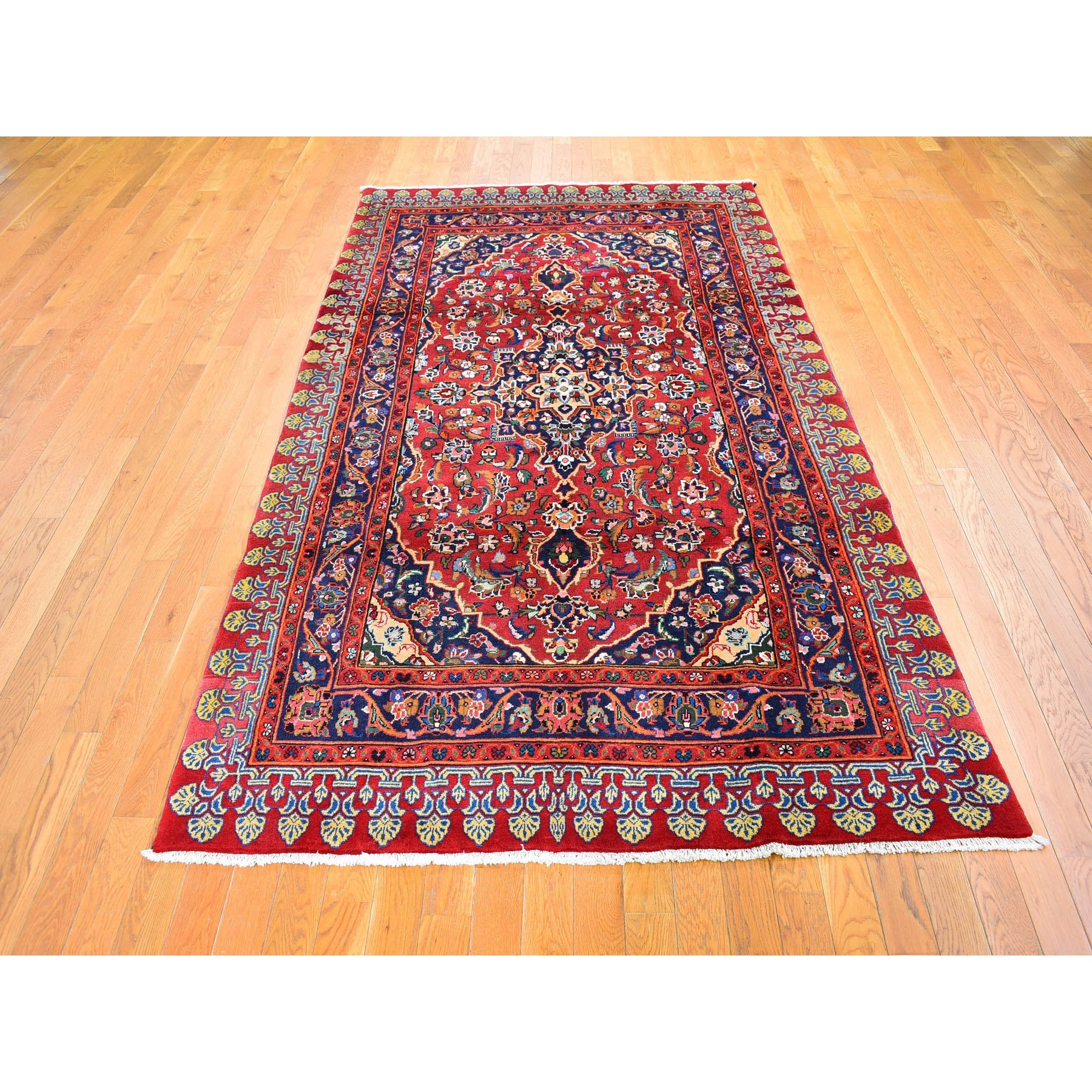 5'x9' Vintage Persian Kashan Dense Weave Wide and Long Red Pure Wool Hand Knotted Oriental Rug