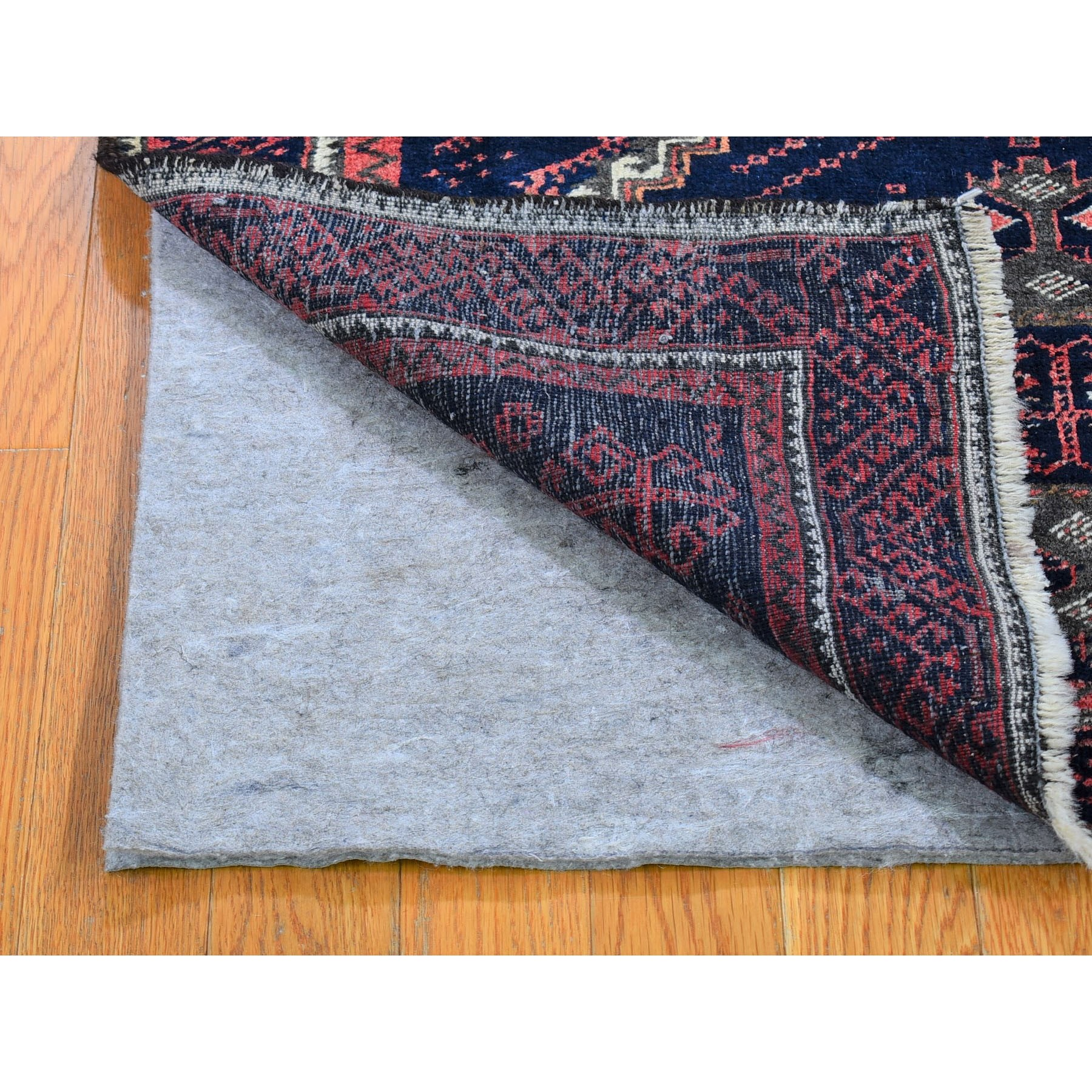 """3'2""""x57"""" Vintage Persian Baluch Full Pile Excellent Condition Pure Wool Hand Knotted Oriental Rug"""