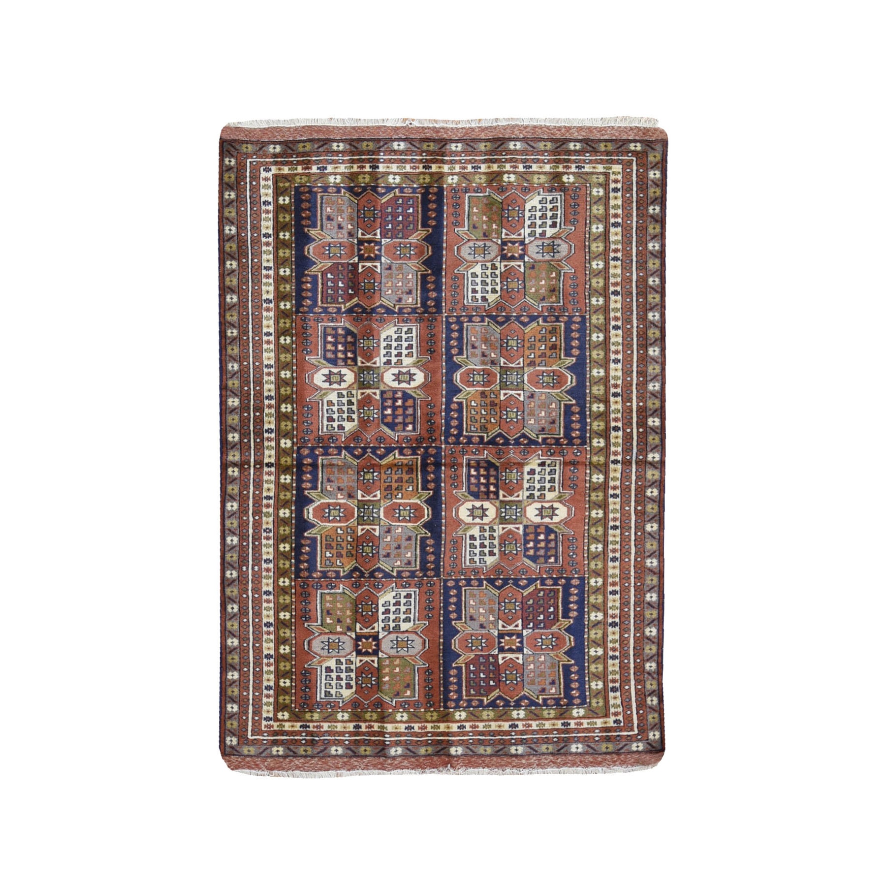"""4'x5'10"""" Terracotta Vintage Persian Abadeh Block Design Pure Wool Hand Knotted Oriental Rug"""