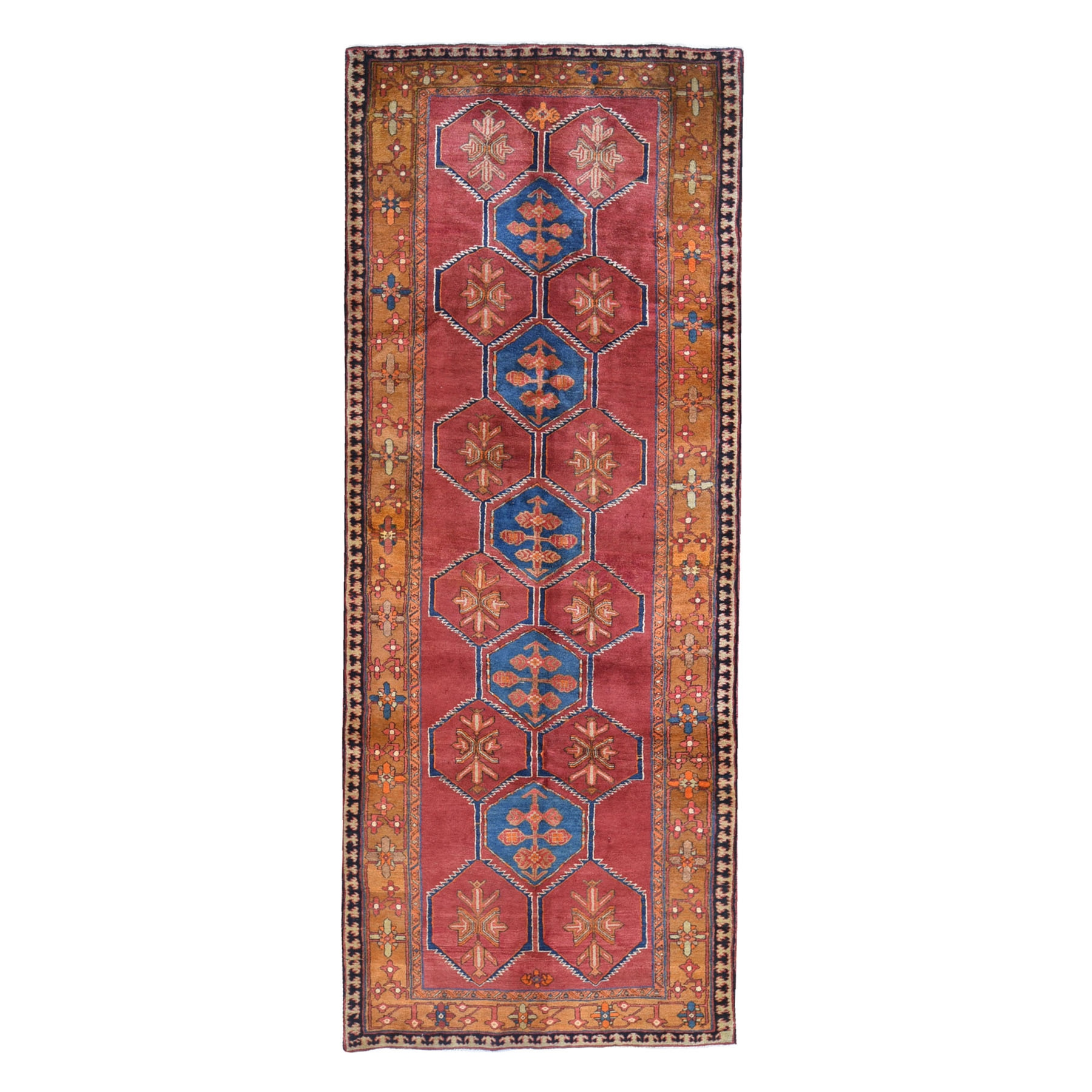 "5'x12'9"" Burnt Orange Vintage West Persian Wide Gallery Size  Runner Pure Wool Hand Knotted Oriental Rug"