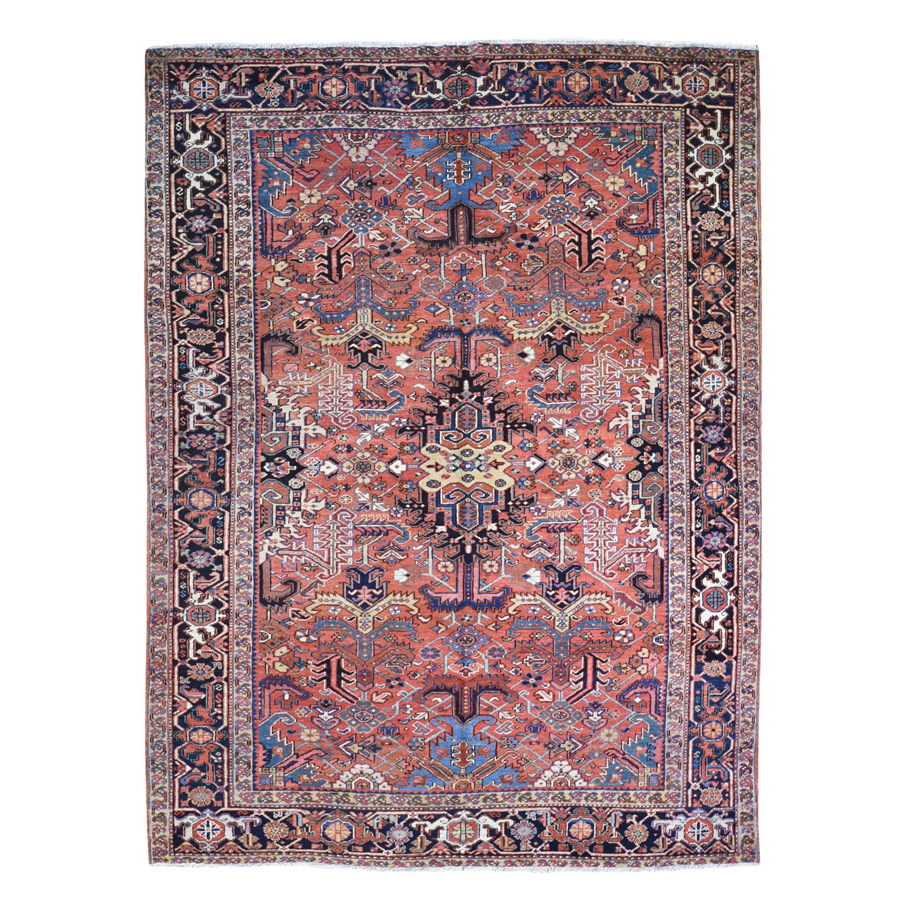 "8'x10'5"" Peach Antique Persian Heriz Full Pile Clean Very Good Condition Pure Wool Hand Knotted Oriental Rug"