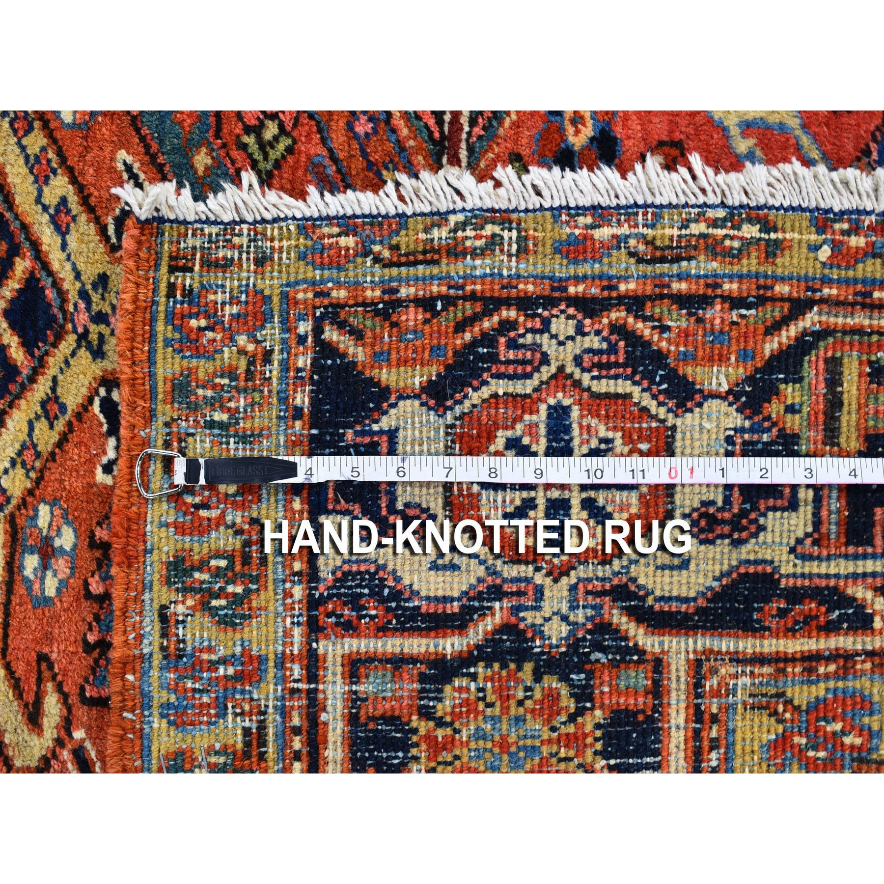 """8'x10'5"""" Peach Antique Persian Heriz Full Pile Clean Very Good Condition Pure Wool Hand Knotted Oriental Rug"""