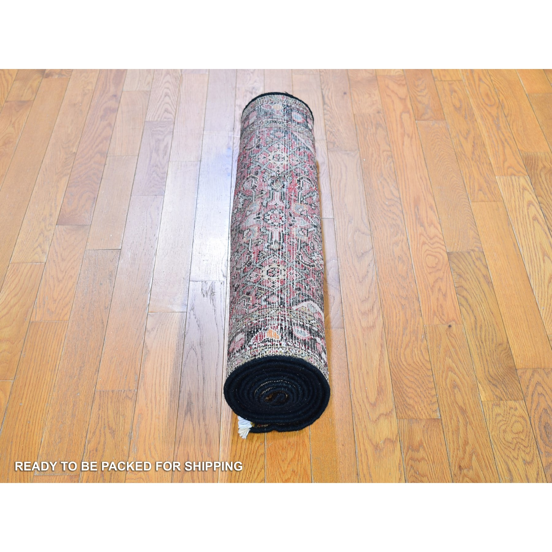 """3'5""""x9'5"""" Red New Persian Husainabad Mahi Fish Design Wide Runner Pure Wool Hand Knotted Oriental Rug"""