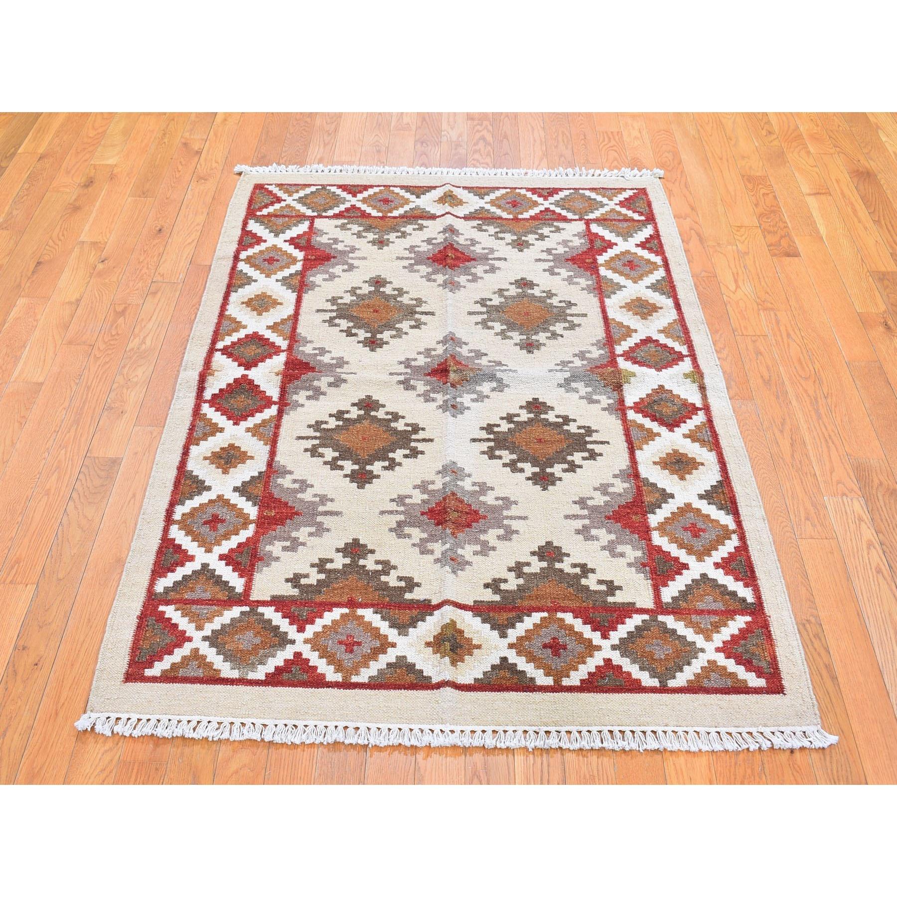 "4'2""x6'1"" Ivory Flat Weave Durie Kilim Geometric Design Pure Wool Hand Woven Oriental Rug"