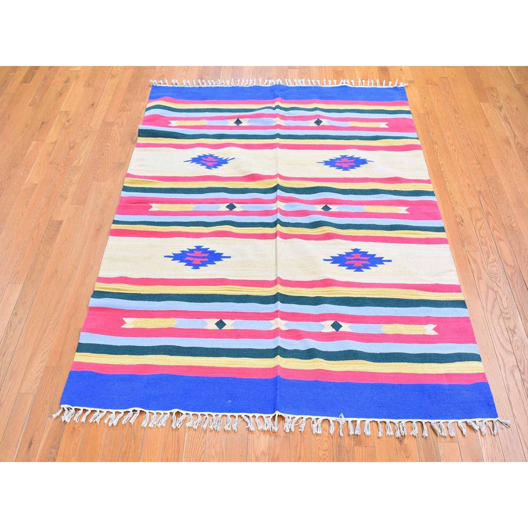 6'x6' Ivory Cotton Durie Flat Weave with Southwestern Design Kilim Hand Woven Square Oriental Rug