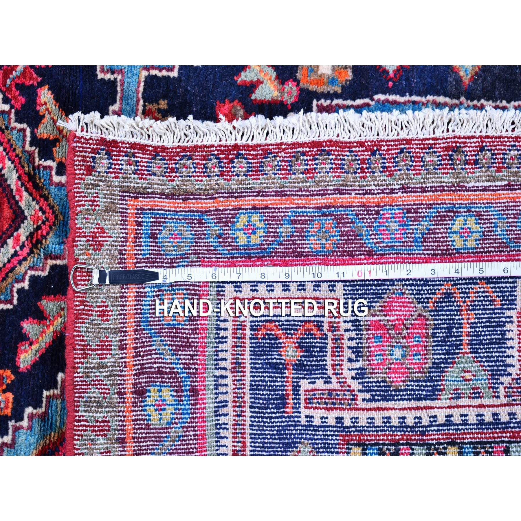 "5'x9'8"" Vintage Colorful Persian Hamadan Excellent Condition Wide and Long Pure Wool Hand Knotted Oriental Rug"