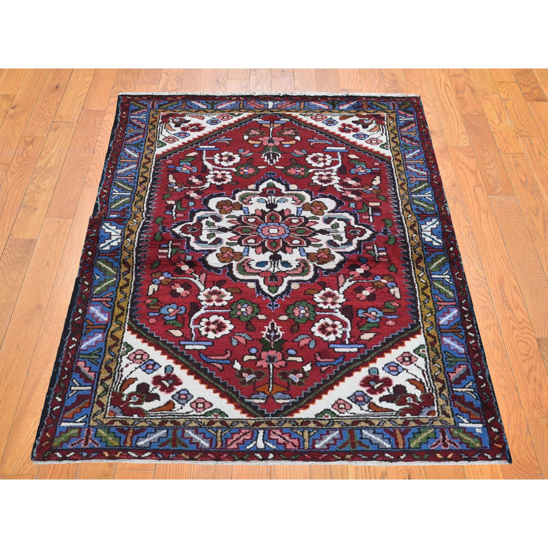 """3'3""""x5'1"""" Red Vintage Persian Hamadan Flower Design Pure Wool Hand Knotted Oriental Rug"""